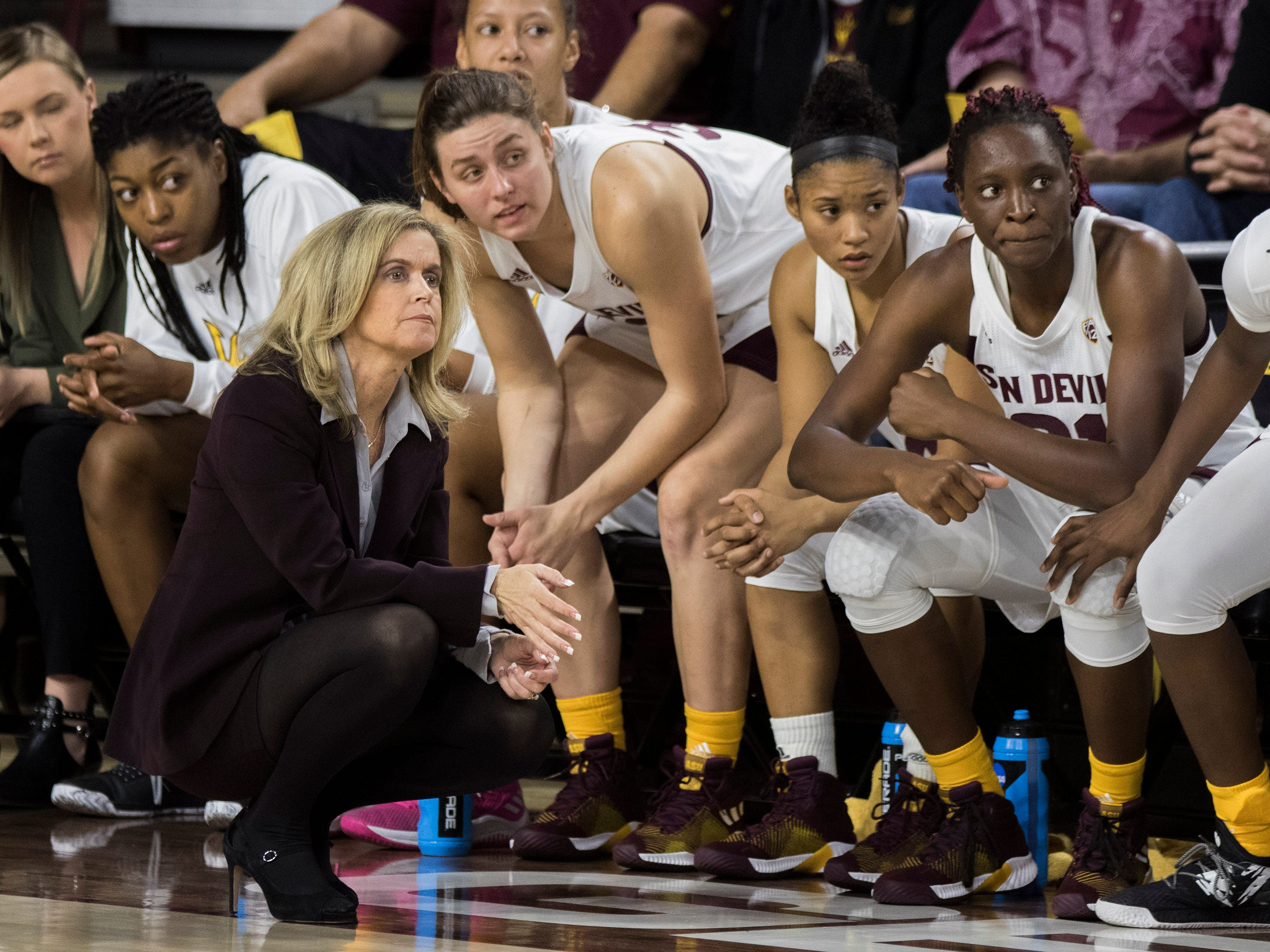 Arizona State University head coach Charli Turner Thorne watches her team against Southern during the first half of their game in Tempe, Friday, Dec. 7, 2018. Darryl Webb/Special for the Republic