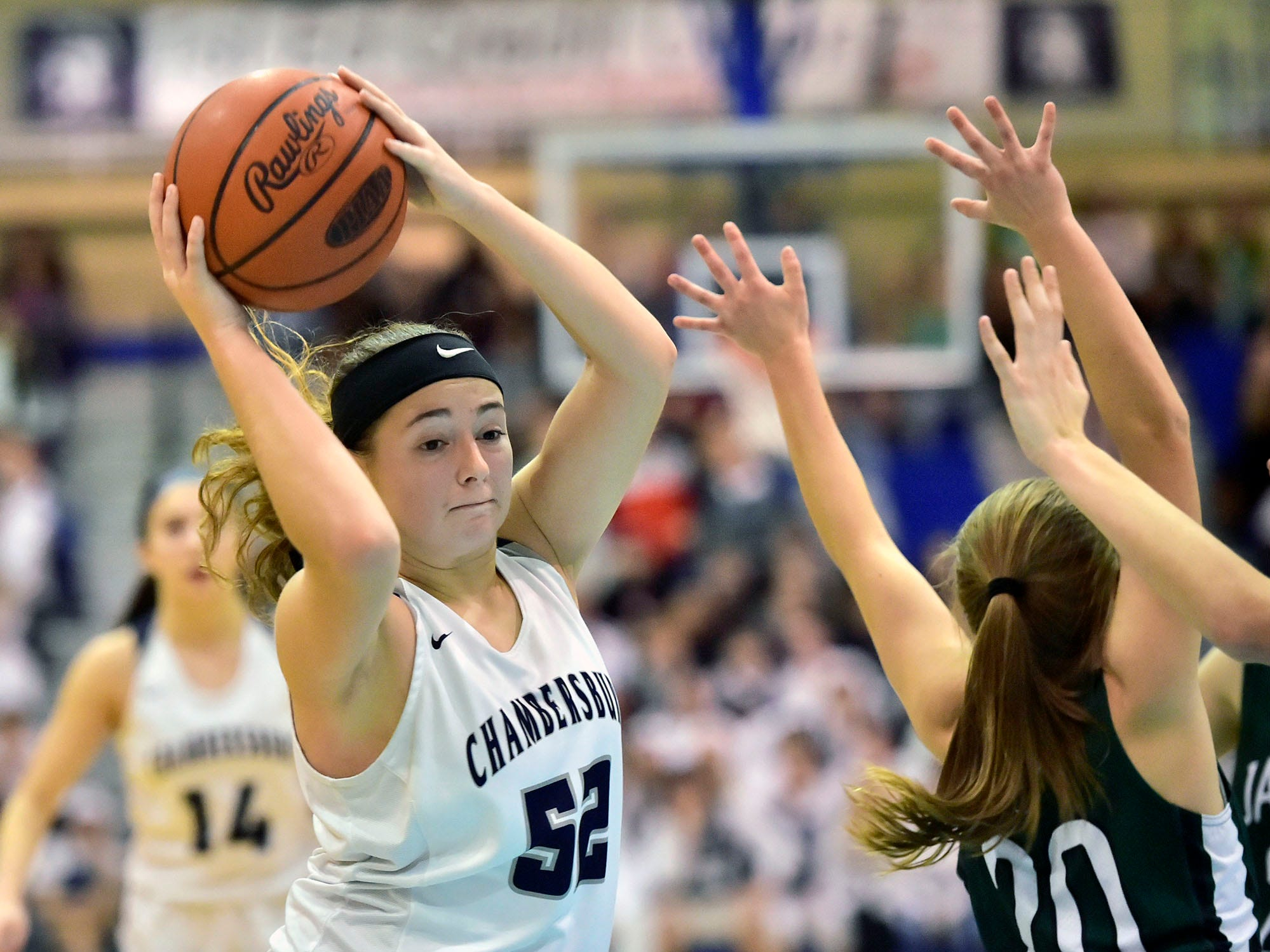Chambersburg's Marlee Wrights (52) secures a rebound against James Buchanan during the Franklin County Tip-Off Tournament, Friday, Dec. 7, 2018.