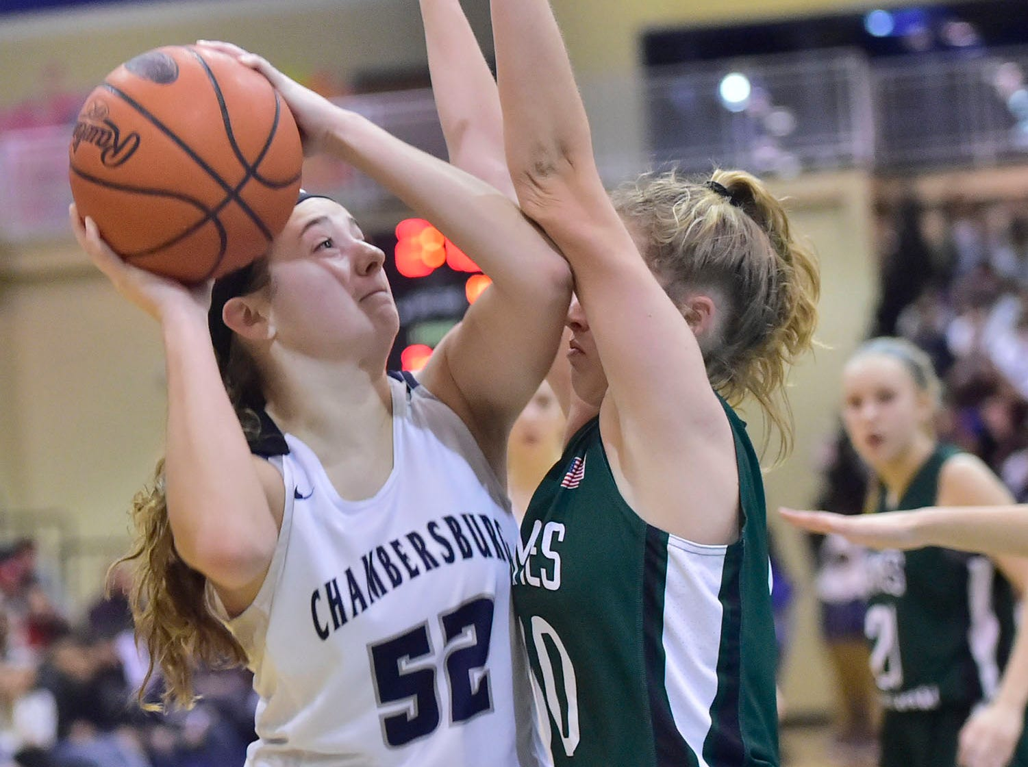 Chambersburg's Marlee Wrights (52) takes a shot near the basket. Chambersburg played James Buchanan girls during the Franklin County Tip-Off Tournament, Friday, Dec. 7, 2018.