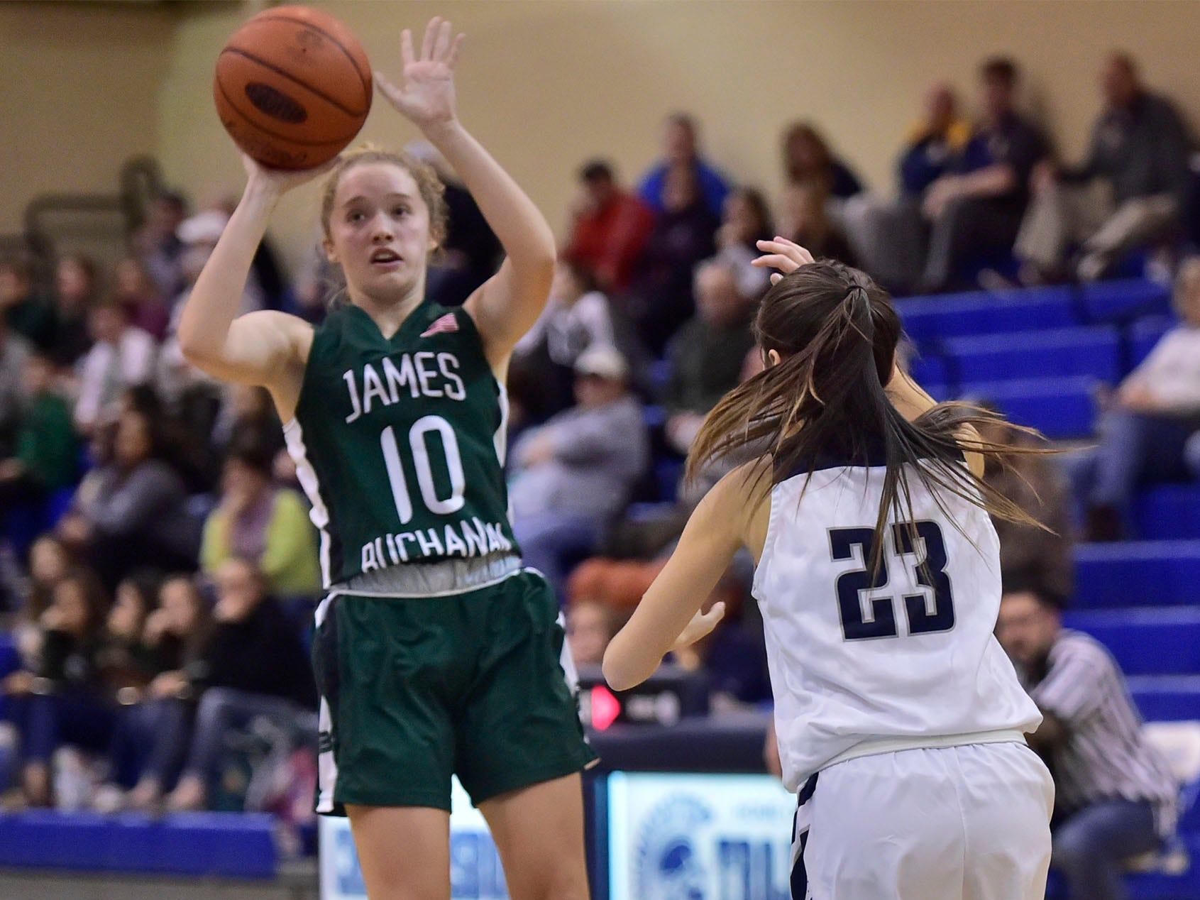James Buchanan's Reilly Heinbaugh (10) fires up a shot. Chambersburg played James Buchanan girls during the Franklin County Tip-Off Tournament, Friday, Dec. 7, 2018.