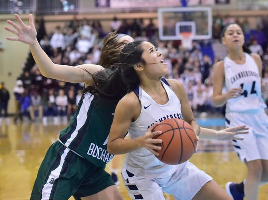 Chambersburg's Erin Patillo (2) drives to the basket to tie the game against James Buchanan during the Franklin County Tip-Off Tournament, Friday, Dec. 7, 2018.