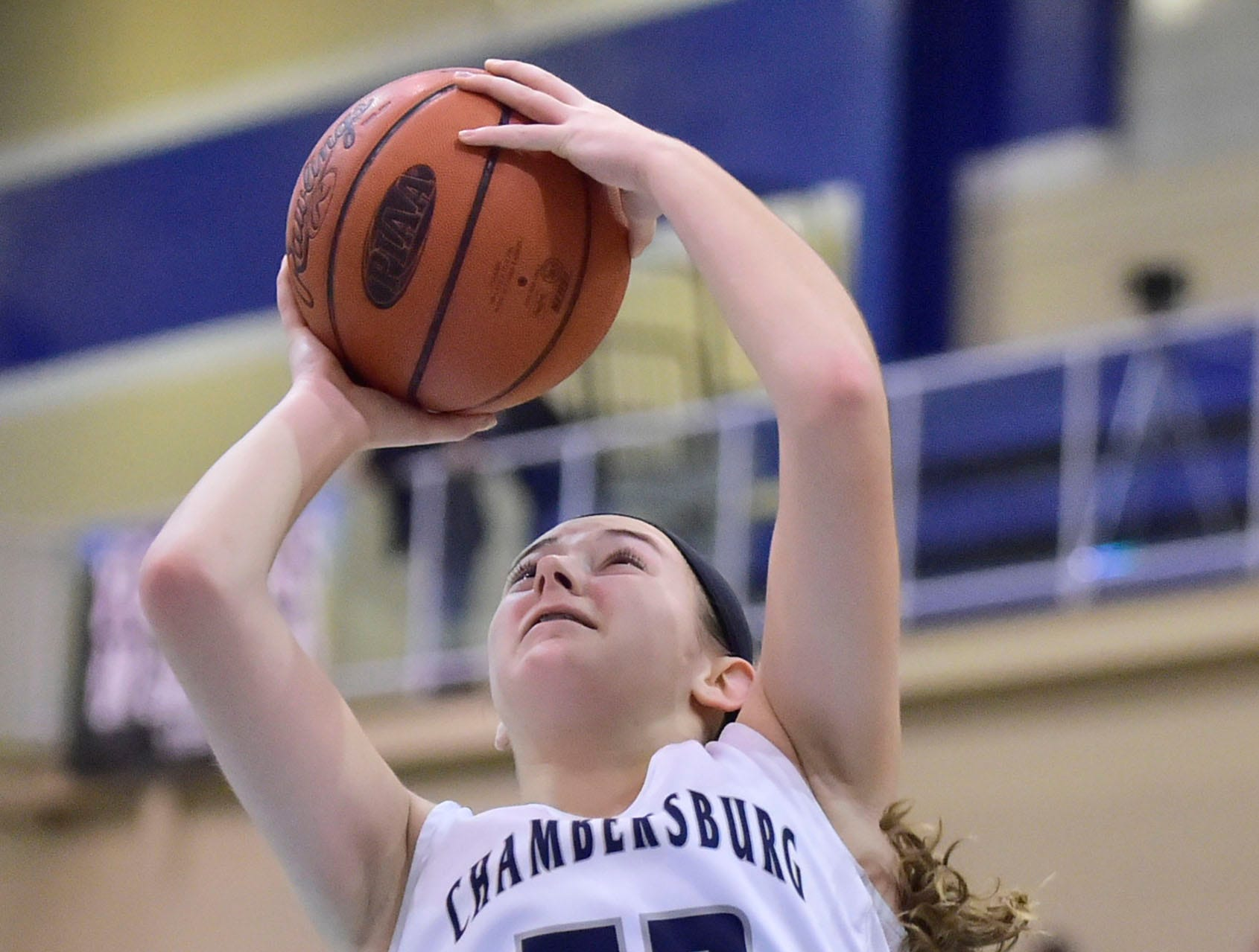Chambersburg's Marlee Wrights (52) shoots for the Trojans. Chambersburg played James Buchanan girls during the Franklin County Tip-Off Tournament, Friday, Dec. 7, 2018.