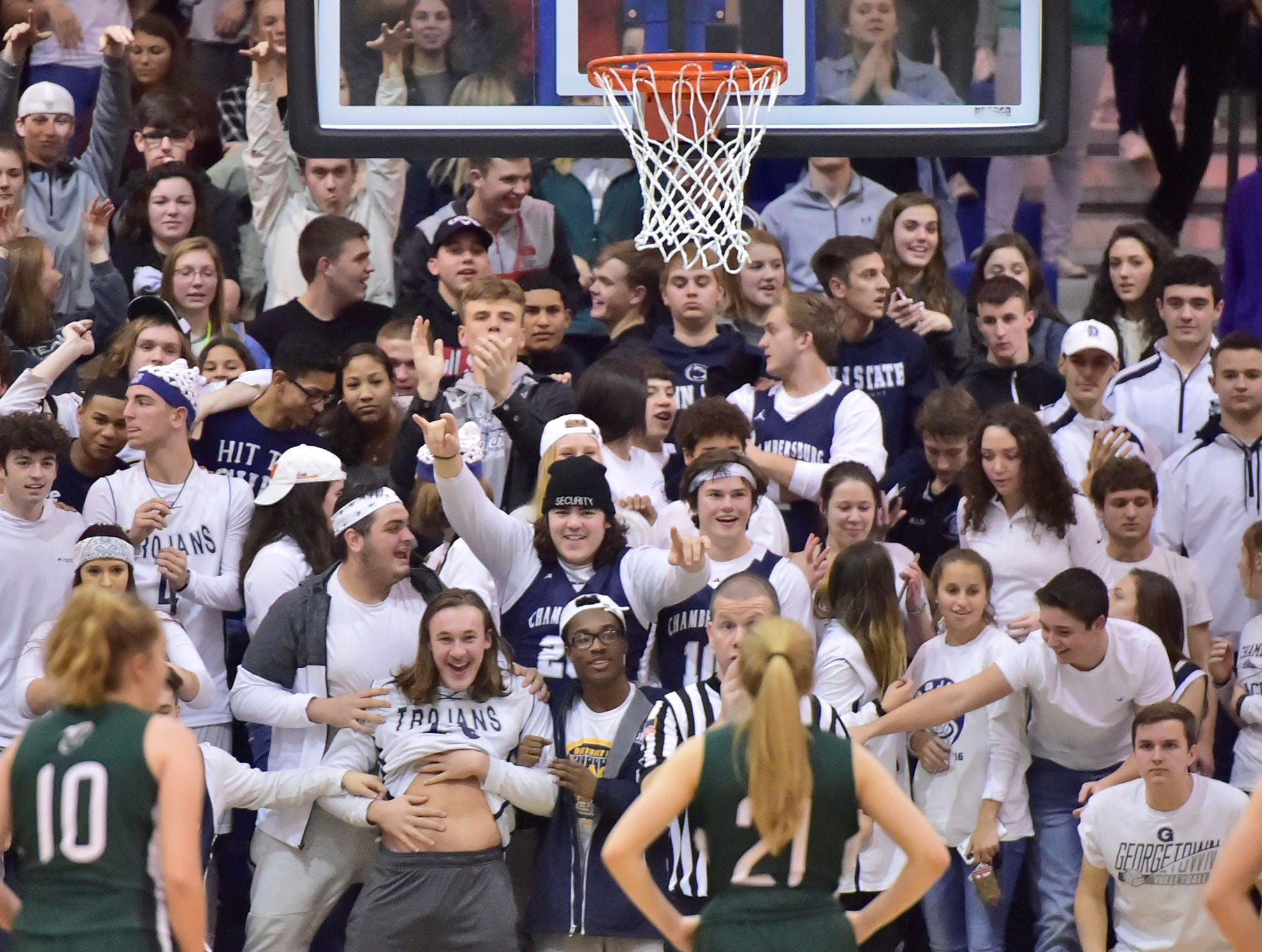 Chambersburg Crazies try to distract players during a free throw. Chambersburg played James Buchanan girls during the Franklin County Tip-Off Tournament, Friday, Dec. 7, 2018.