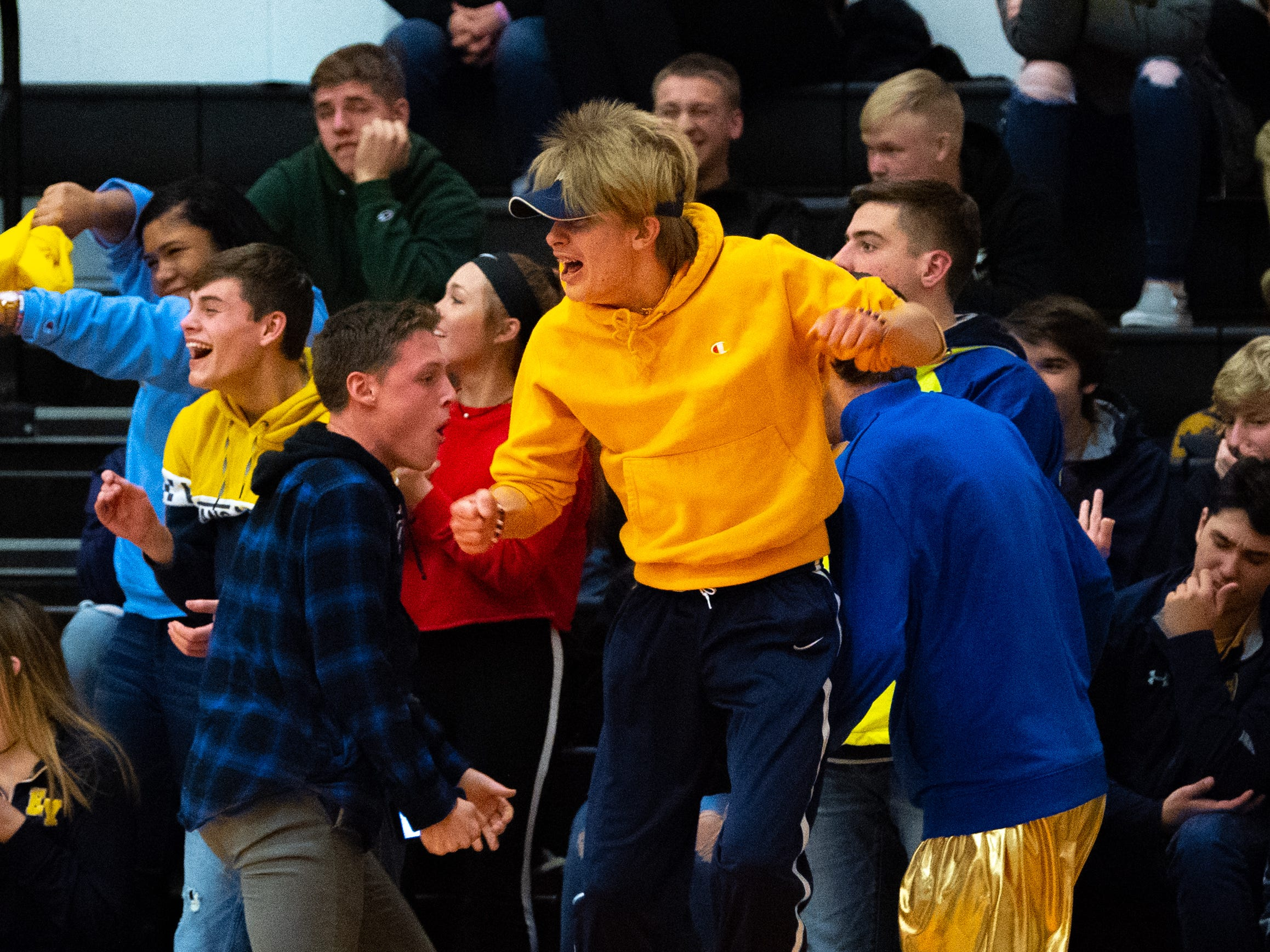 Eastern York students cheer on their team during the YAIAA Boys' basketball game between Northern York and Eastern York at Northeastern High School, Friday, December 7, 2018. The Polar Bears defeated the Knights 67 to 53.
