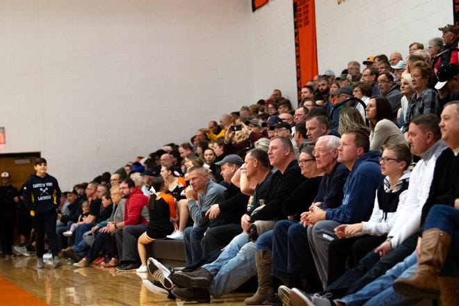 Northeastern High School is filled to the brim with fans during the YAIAA Boys' basketball game between Northern York and Eastern York, Friday, December 7, 2018. The Polar Bears defeated the Knights 67 to 53.