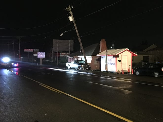 Lancaster Drive SE between State Street and Mahrt Avenue SE had to be closed after a vehicle struck a power pole early Saturday morning.