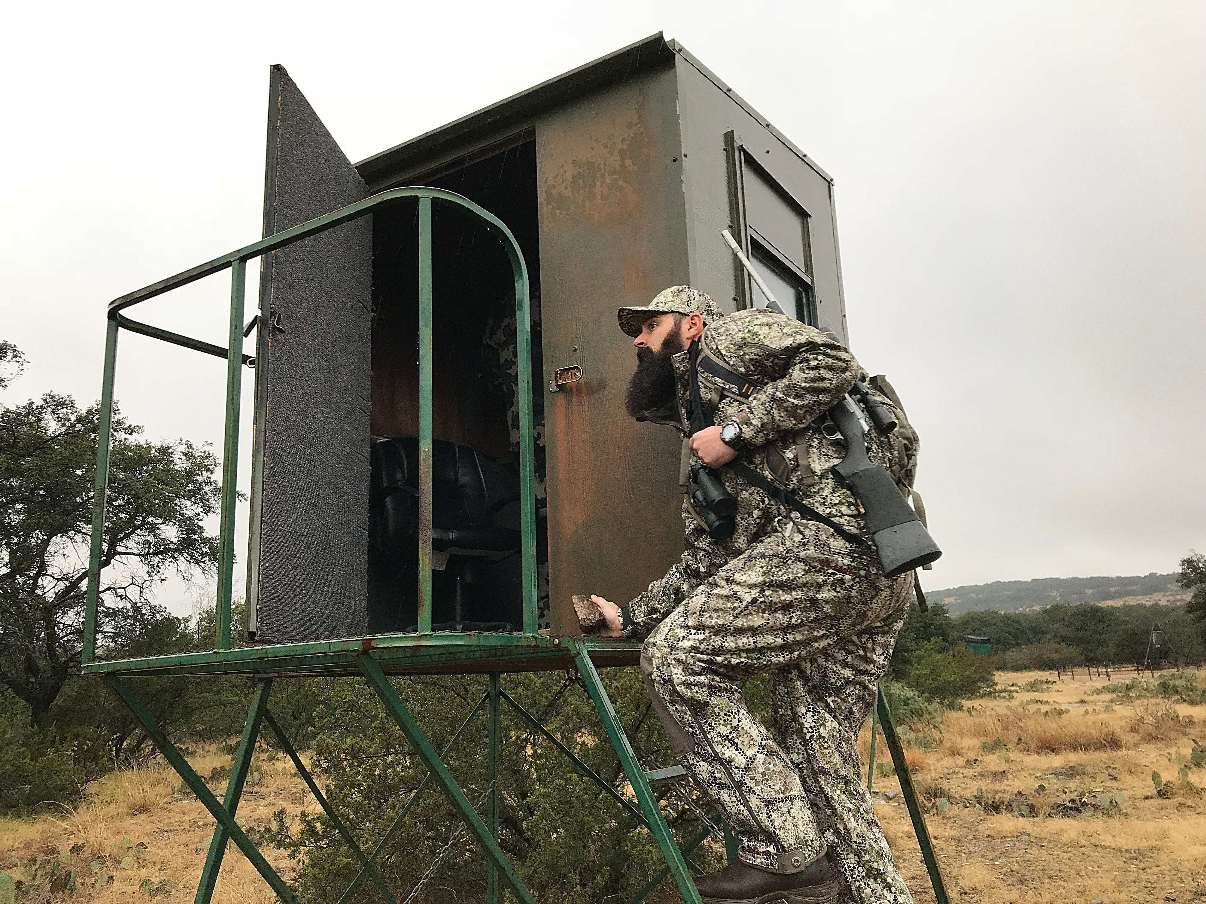 Joseph Lewis climbs into a deer blind during the annual deer hunt for veterans in Christoval Friday, Dec. 7, 2018 sponsored by San Angelo Support for Veterans and Lone Star Warriors Outdoors.