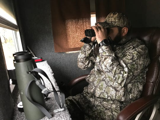 Veteran Joseph Lewis watches for deer during the annual deer hunt in Christoval Friday, Dec. 7, 2018 sponsored by San Angelo Support for Veterans and Lone Star Warriors Outdoors. The hunt included 18 combat injured veterans from across the nation.