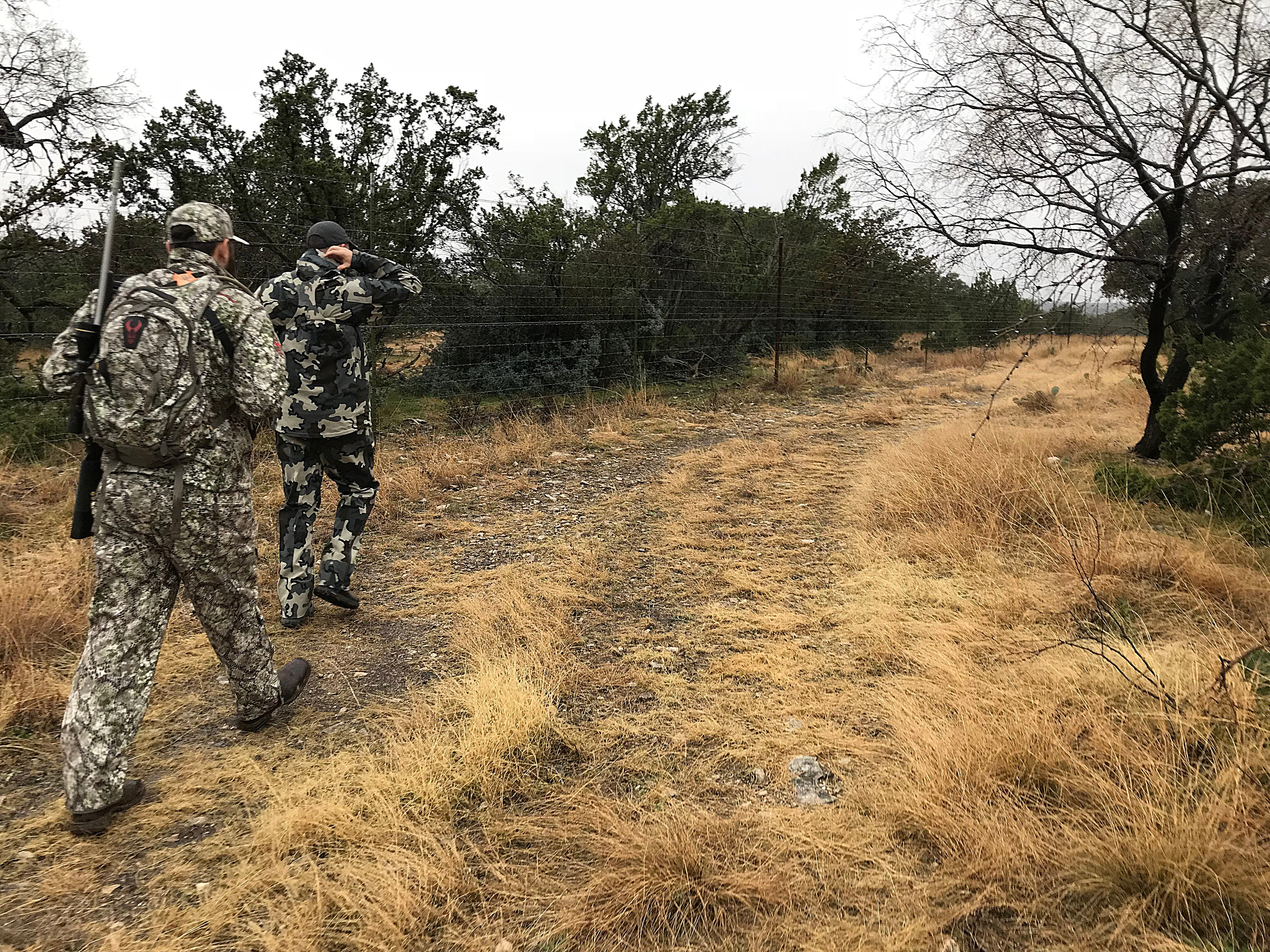 Joseph Lewis (left) and his guide Ryan Dupriest make their way to a deer blind during the annual deer hunt in Christoval Friday, Dec. 7, 2018 sponsored by San Angelo Support for Veterans and Lone Star Warriors Outdoors.
