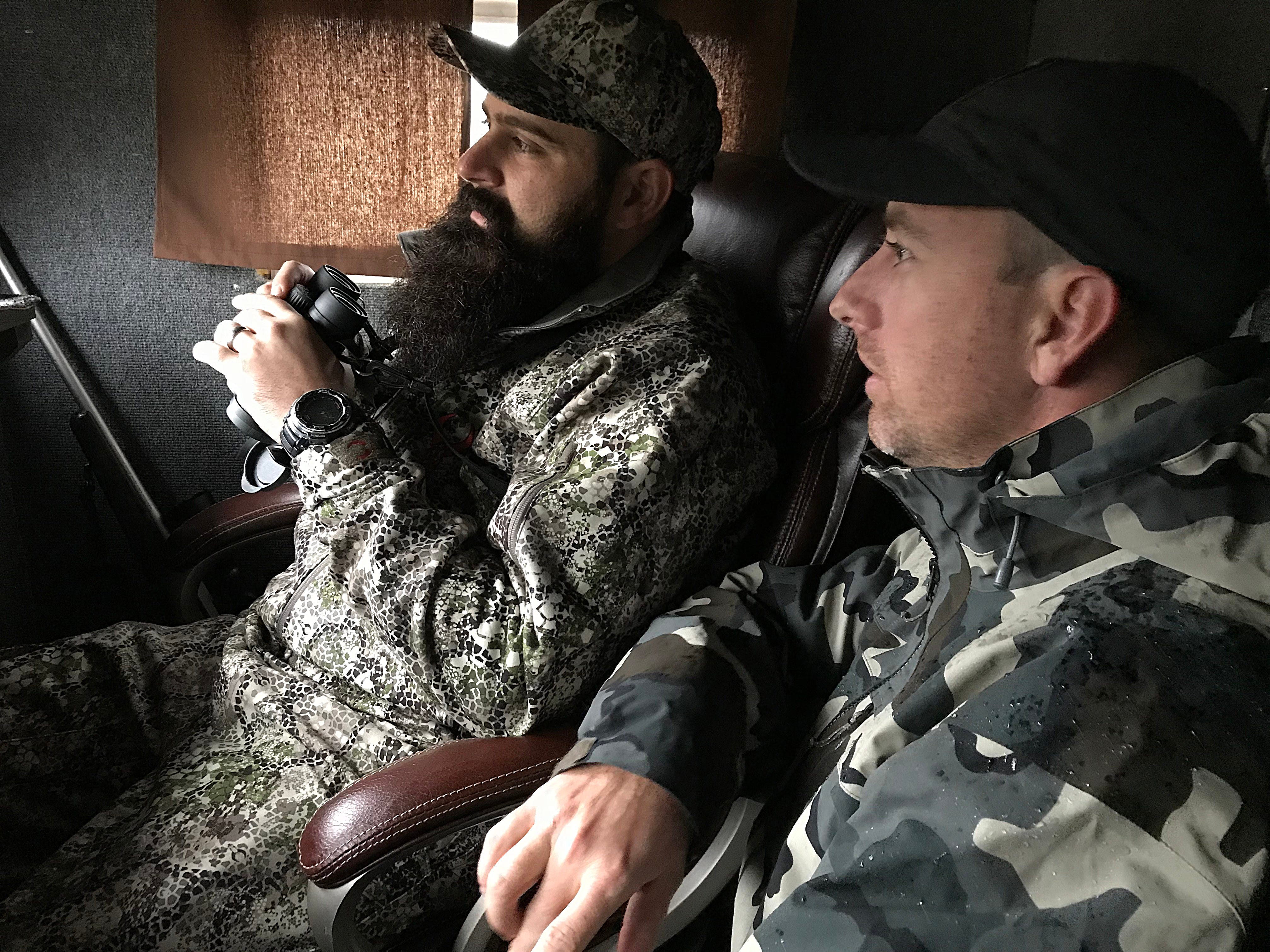Joseph Lewis (left) and his guide Ryan Dupriest watch for deer during the annual hunt for veterans in Christoval Friday, Dec. 7, 2018 sponsored by San Angelo Support for Veterans and Lone Star Warriors Outdoors.