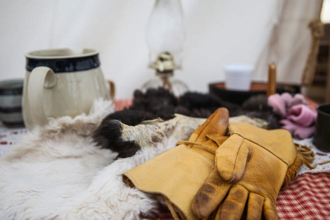 Items on a table at a camp for Winter Rendezvous Friday, Dec. 7, 2018, during Christmas at Old Fort Concho.