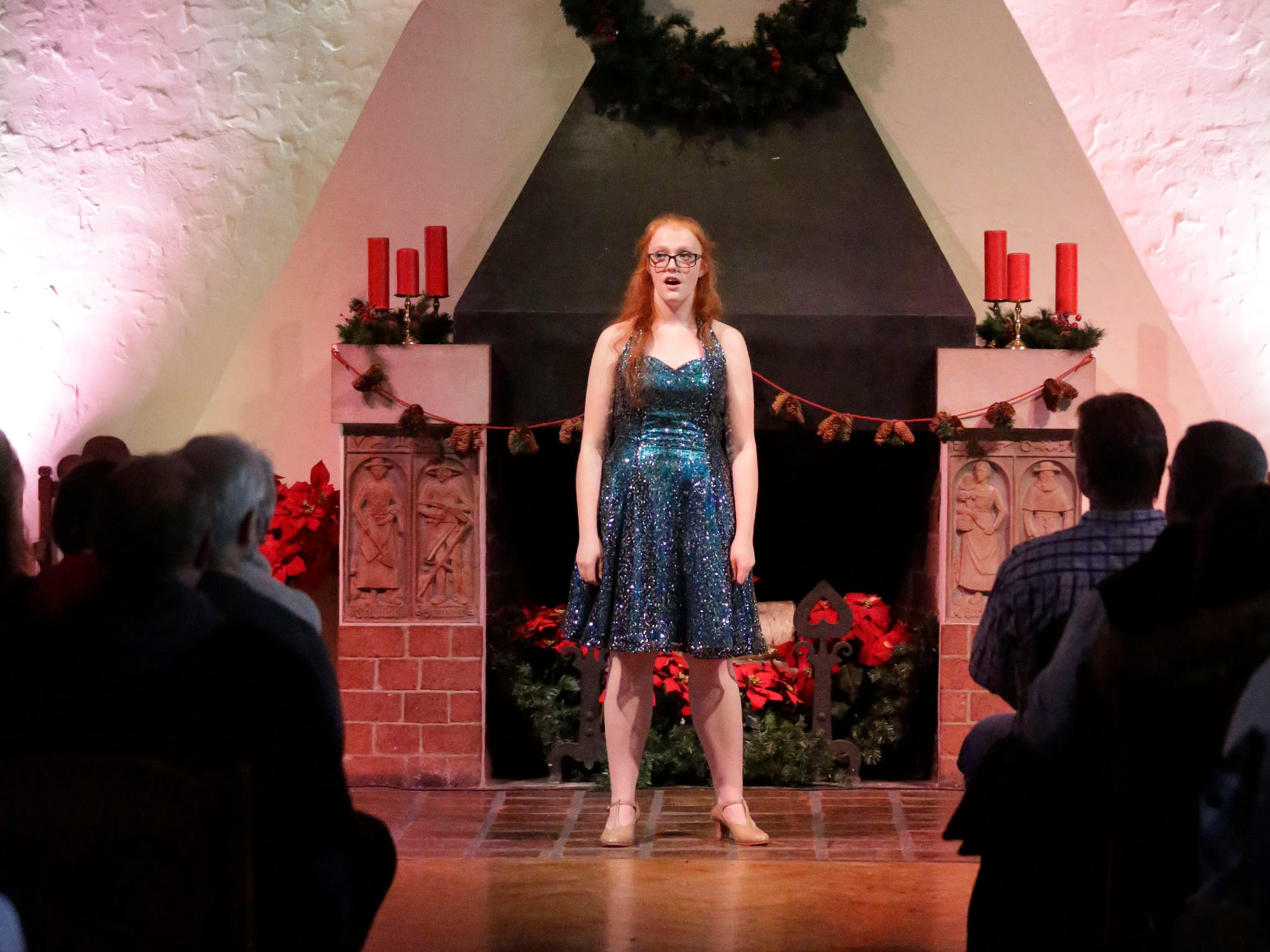 A Waves of Rhythm Show Choir from Kiel High School singer performs at the Waelderhaus, Saturday, December 8, 2018, in Kohler, Wis.