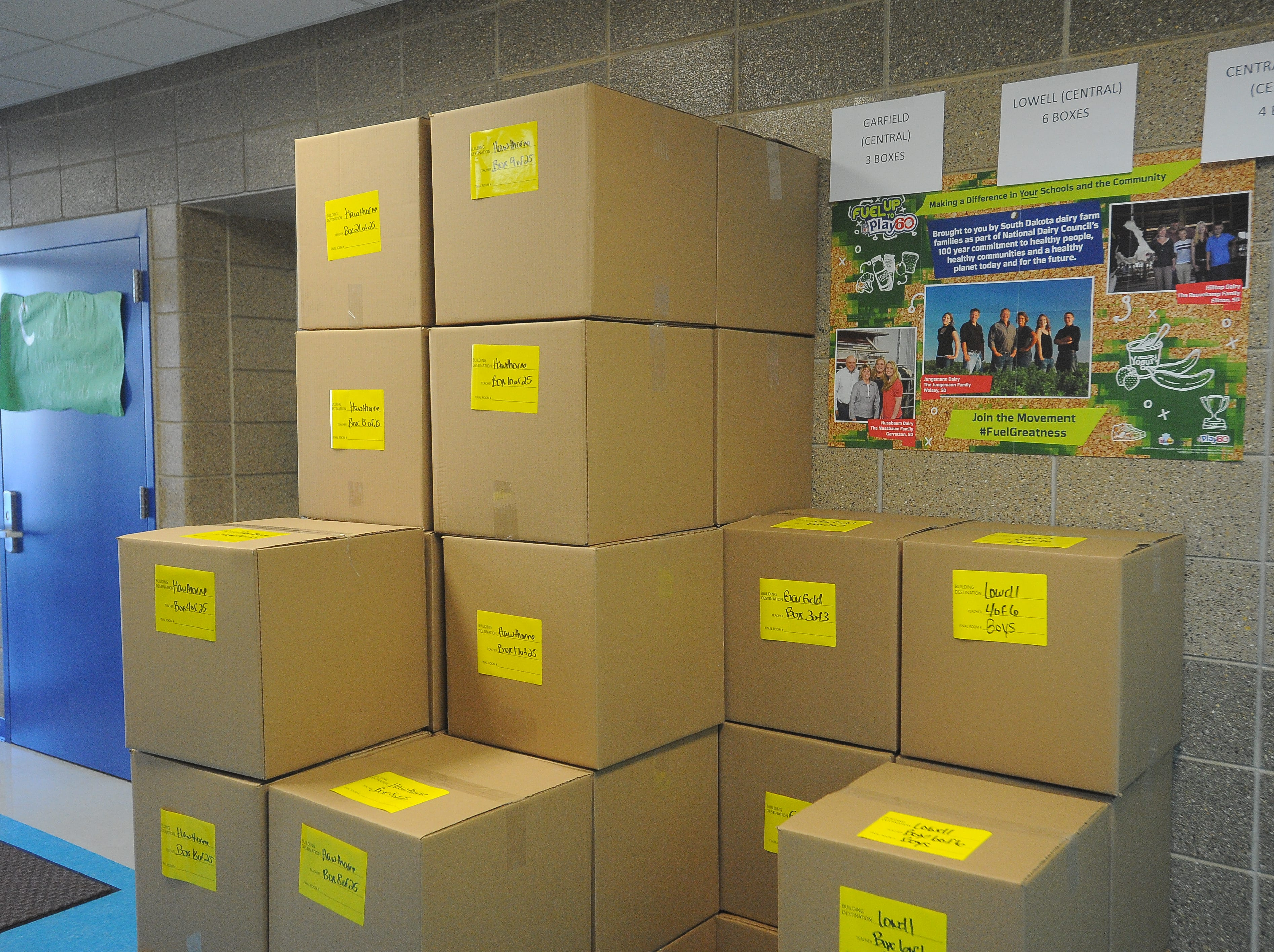 Boxes full of tied blankets are ready to be delivered to Sioux Falls schools. Blankets were made Saturday, Dec. 8, 2018 as part of Project Warm-Up at Sonia Sotomayor Elementary.