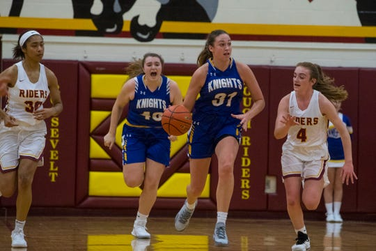 O'Gorman's Emma Ronsiek (31) dribbles the ball during a game against Roosevelt, Friday, Dec. 7, 2018 at Roosevelt High School in Sioux Falls, S.D.