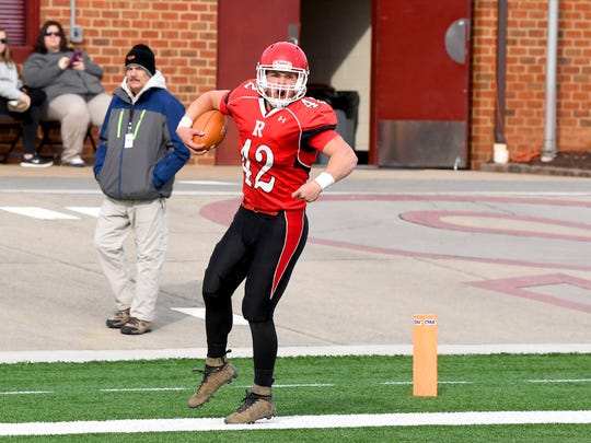 Riverheads' Moose Lee celebrates after running the ball into the end zone for a touchdown during the VHSL Class 1 championship game in Salem on Saturday, Dec. 8, 2018.