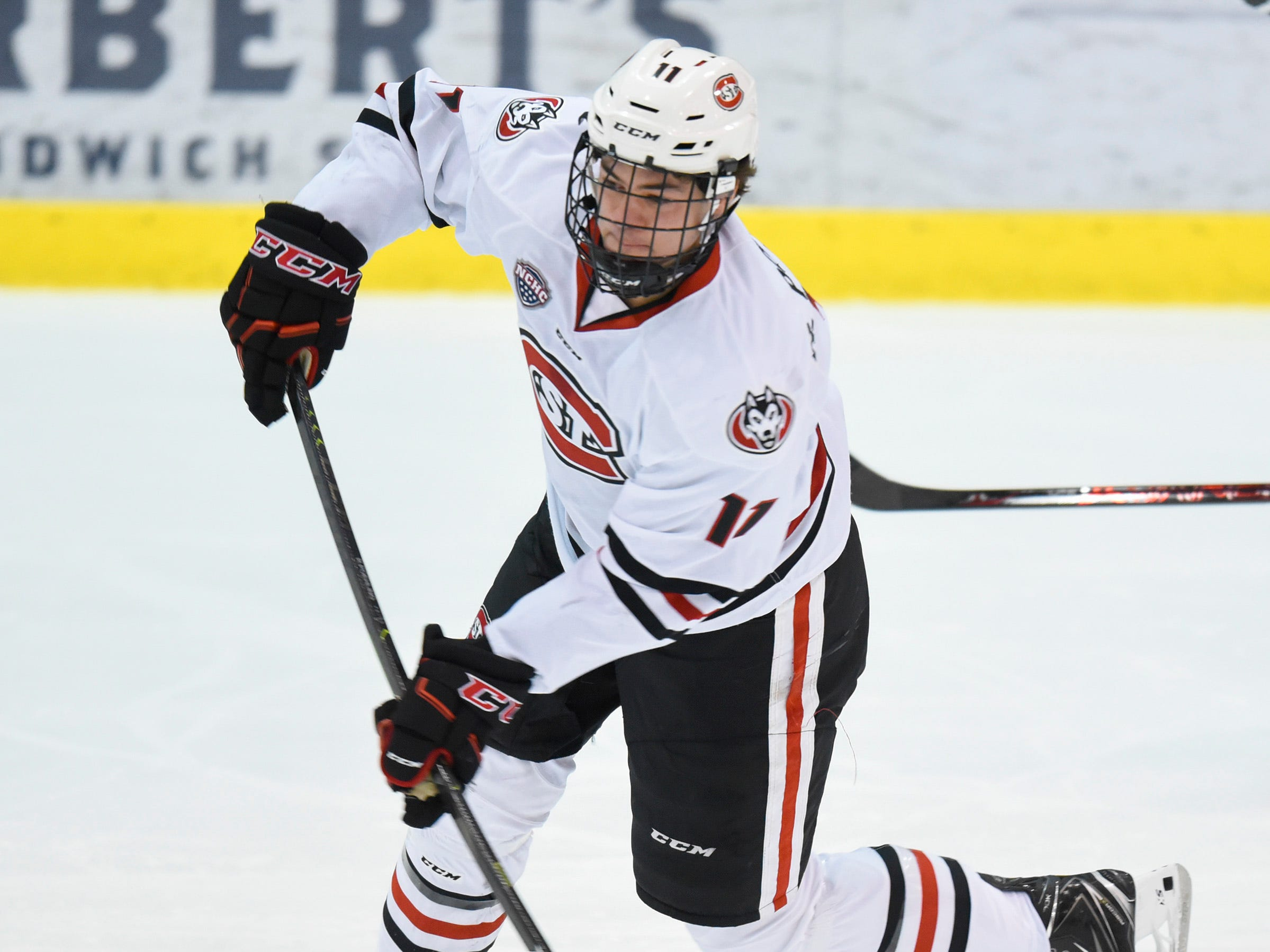 St. Cloud State's Ryan Poehling takes a shot at the goal against Nebraska-Omaha during the first period Friday, Dec. 7, at the Herb Brooks National Hockey Center.