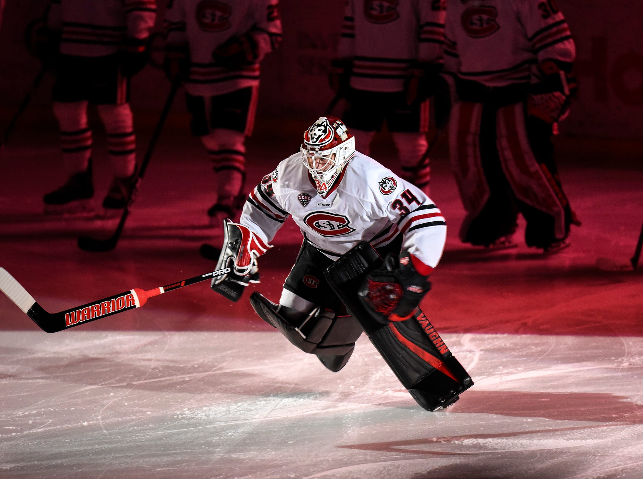 St. Cloud State goalie David Hrenak skates onto the ice during introductions Friday, Dec. 7, at the Herb Brooks National Hockey Center.