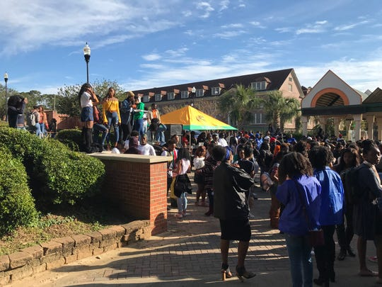 "Students gather on ""The Set"" on a recent Friday afternoon at Florida A&M University."