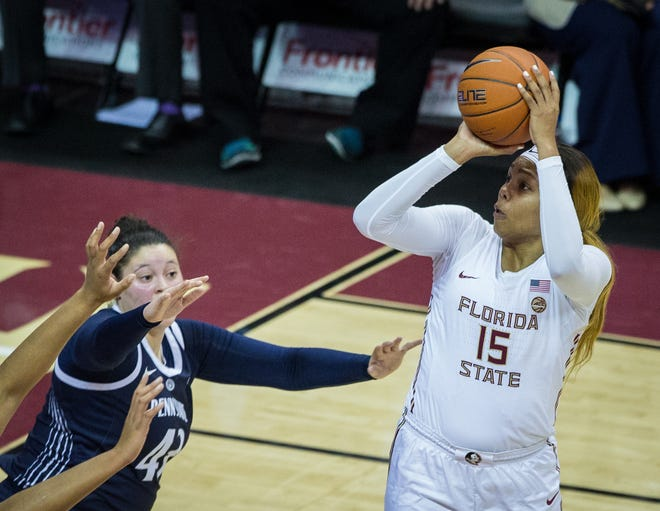 Florida State forward Kiah Gillespie pulls up for a jumper versus Penn State. She scored a season-high 27 points in leading FSU to an 87-58 victory.