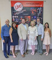 Marty and Bev Paris of Paris Productions, left, and  Rusty Young and Stacey Kasselman of MusicWorks Inc., right, have teamed together as the co-producers of  LIVE! From Vero Beach with Presenting Sponsors Richard Boga and Cindy O'Dare of Premier Estate Properties, center.