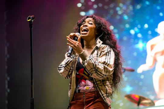 In this March 9, 2018, file photo, SZA performs at the 2018 BUKU Music + Art Project at Mardi Gras World in New Orleans.