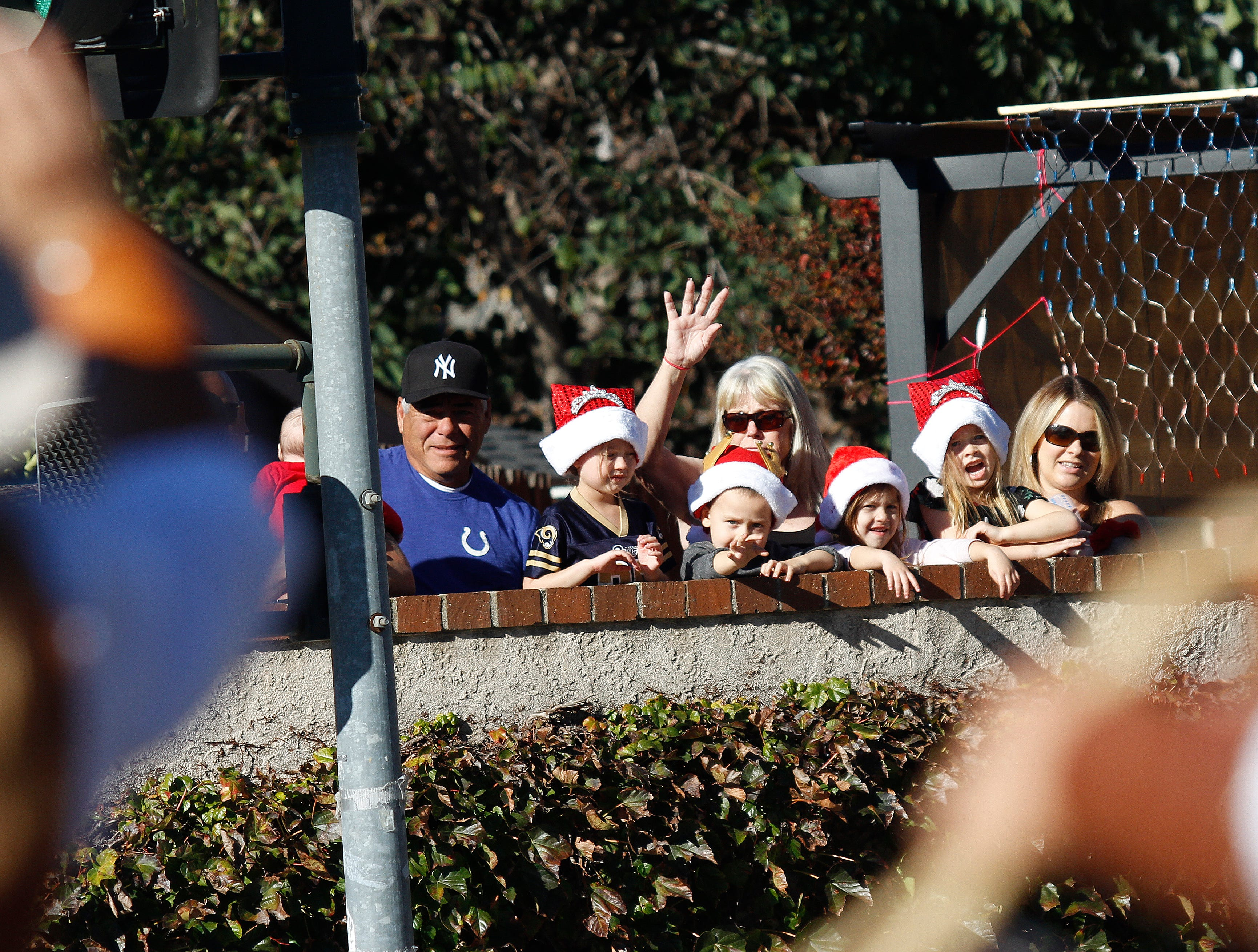 Onlookers watch the Christmas parade Saturday in Camarillo.