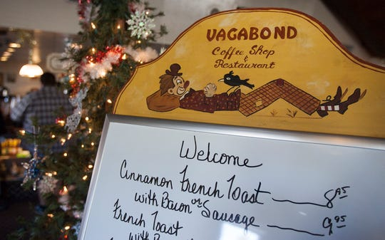 A menu board greets diners at the entrance to the Vagabond Coffee Shop in downtown Ventura. The 52-year-old restaurant will be open for its final Christmas Day service from 7 a.m. to 2 p.m.