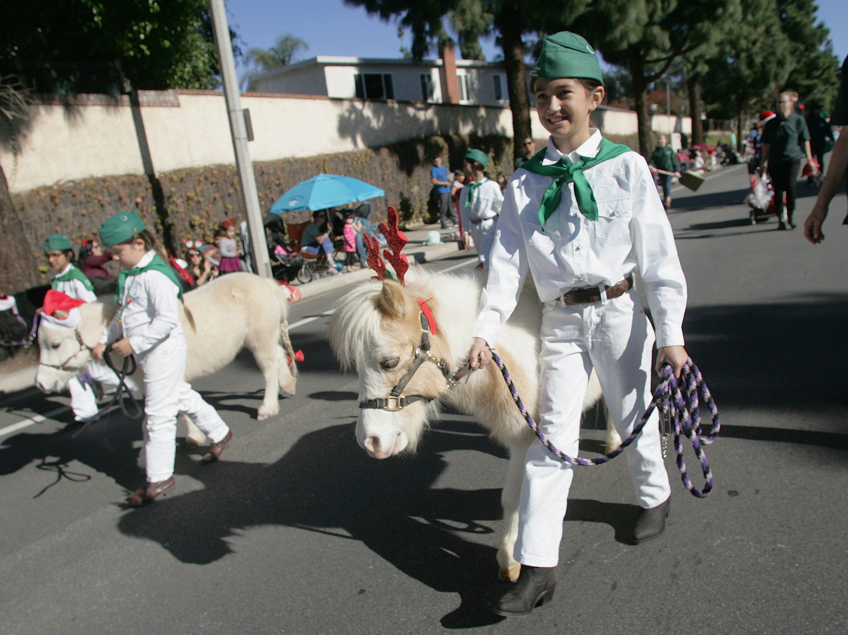 Layah Andrade, a 4-H member, walks with Hershey during Saturday's Camarillo Christmas parade.
