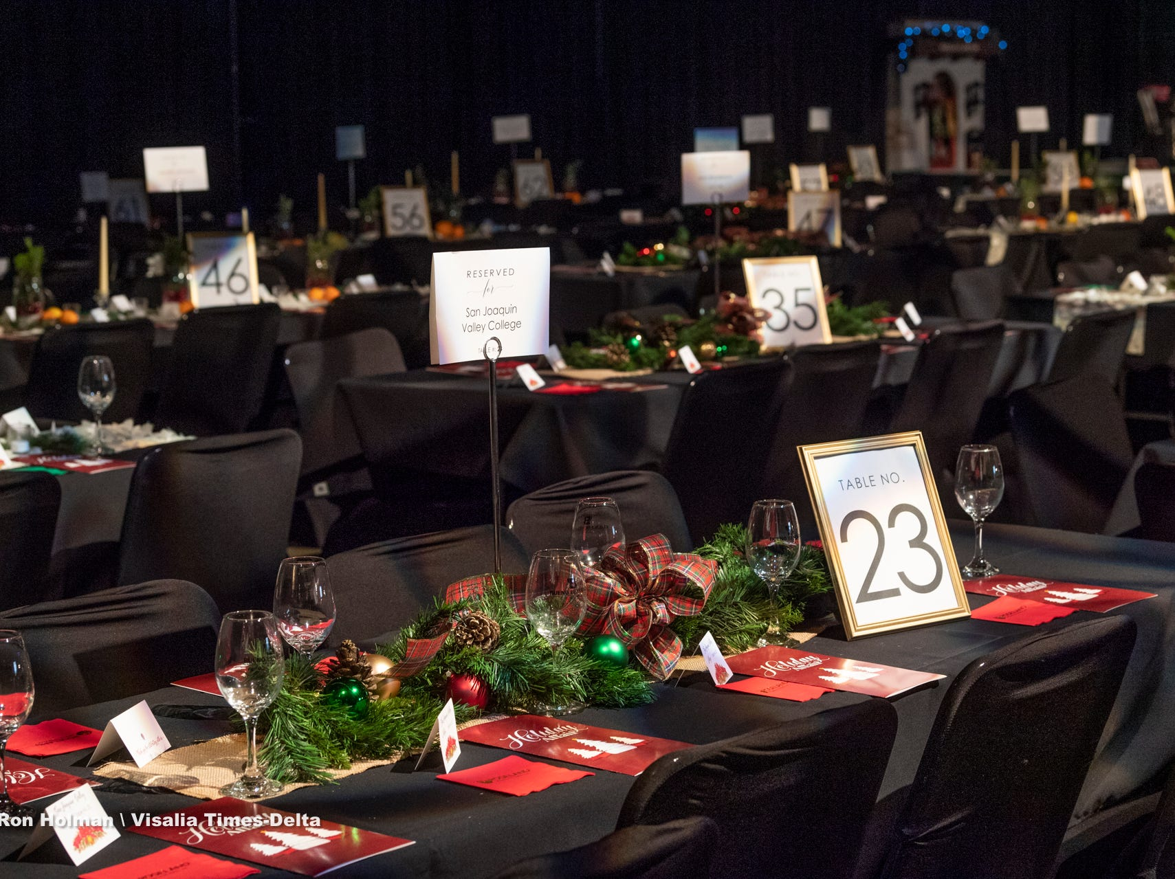 "Table settings for VIP ticket holder of Visalia's 38th Annual Christmas Tree Auction on Friday, December 7, 2018. This year's theme is ""A Holiday Affair."""