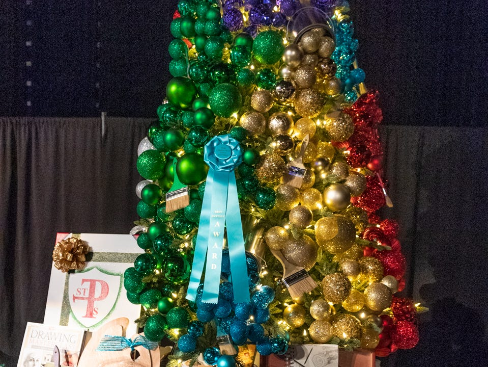"Tree #1- St. Paul's Parent Guild. Visalia's 38th Annual Christmas Tree Auction on Friday, December 7, 2018. This year's theme was ""A Holiday Affair."" The live auctions alone generated nearly $60,000 in bids."