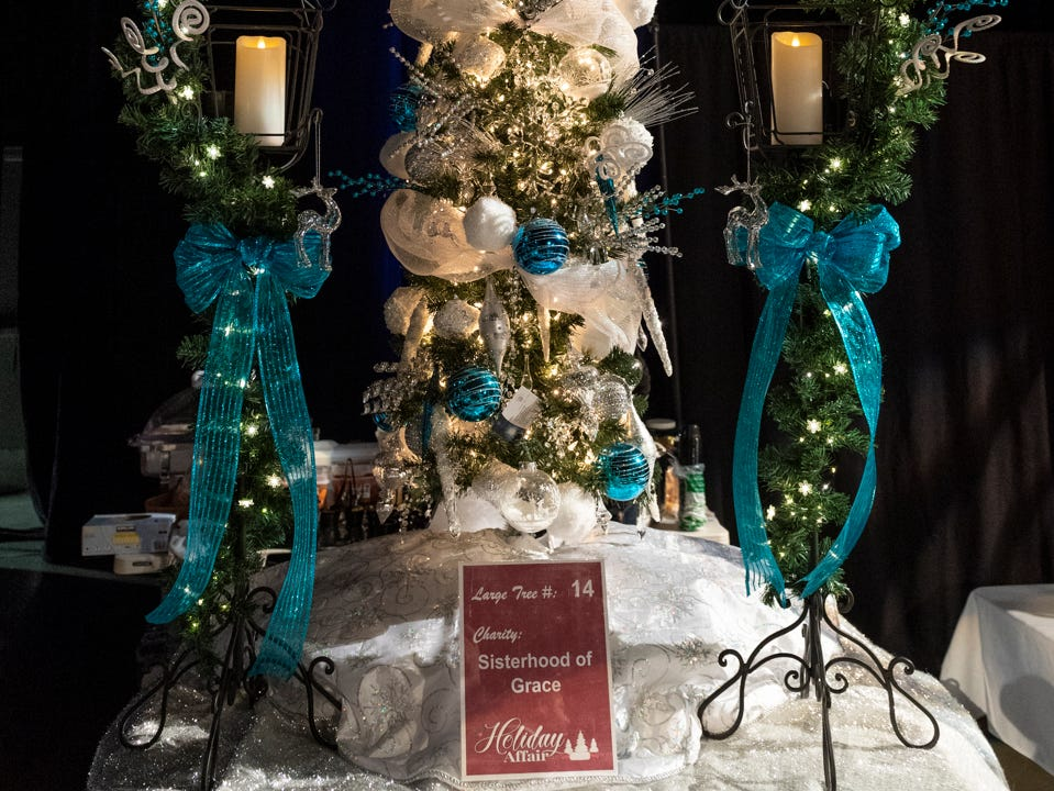 """Tree #14- Sisterhood of Grace. Visalia's 38th Annual Christmas Tree Auction on Friday, December 7, 2018. This year's theme was """"A Holiday Affair."""" The live auctions alone generated nearly $60,000 in bids."""