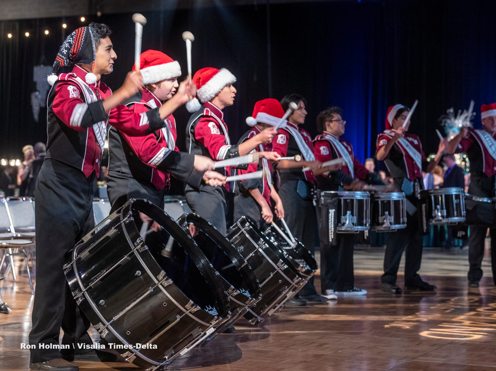 "The drum line from Mt. Whitney High School performs during Visalia's 38th Annual Christmas Tree Auction on Friday, December 7, 2018. This year's theme was ""A Holiday Affair."" The live auctions alone generated nearly $60,000 in bids."