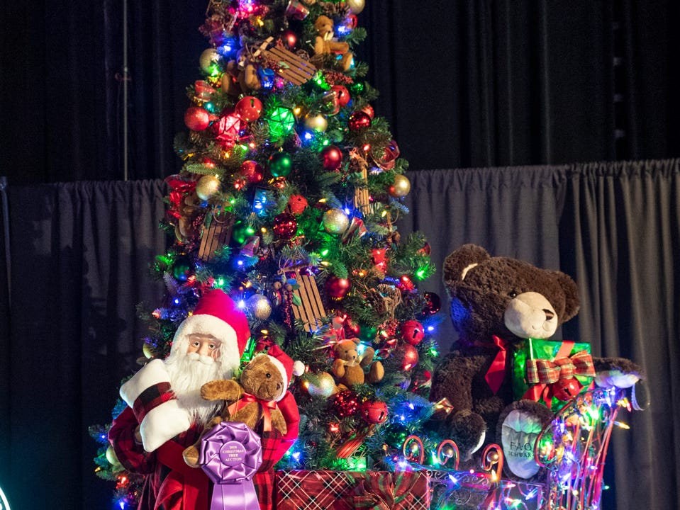 "Tree #8- Kaweah Delta Hospice Foundation. Visalia's 38th Annual Christmas Tree Auction on Friday, December 7, 2018. This year's theme was ""A Holiday Affair."" The live auctions alone generated nearly $60,000 in bids."