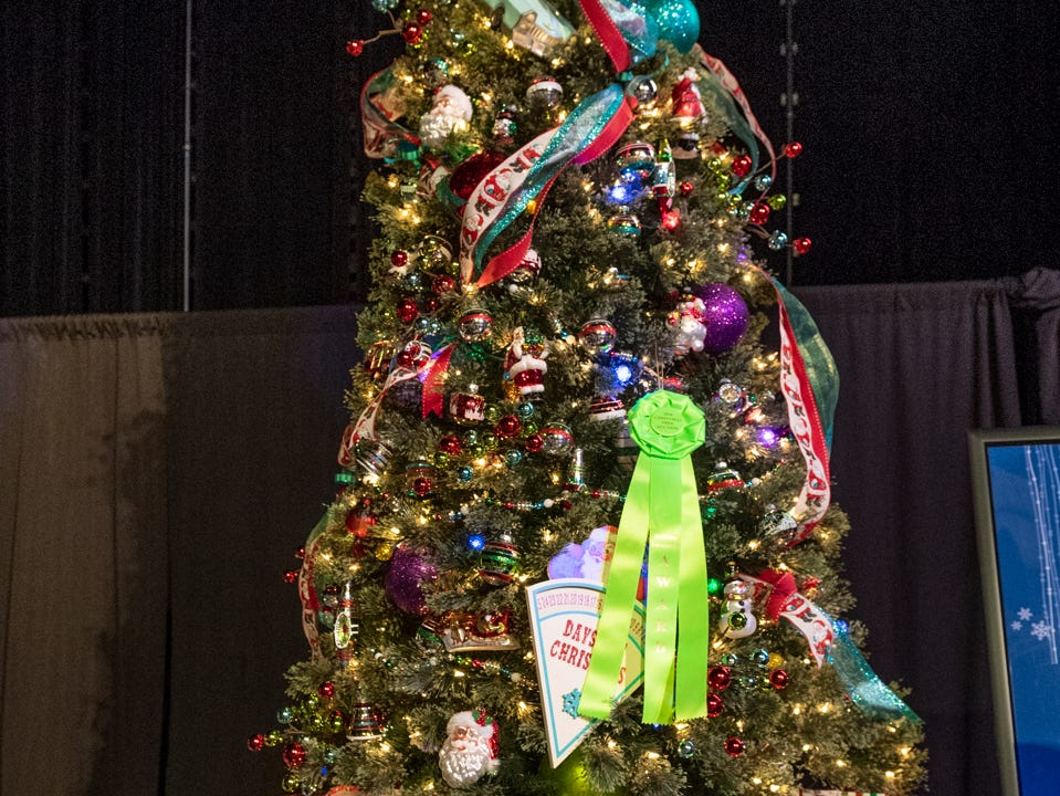 "Tree #5- Hands in the Community. Visalia's 38th Annual Christmas Tree Auction on Friday, December 7, 2018. This year's theme was ""A Holiday Affair."" The live auctions alone generated nearly $60,000 in bids."