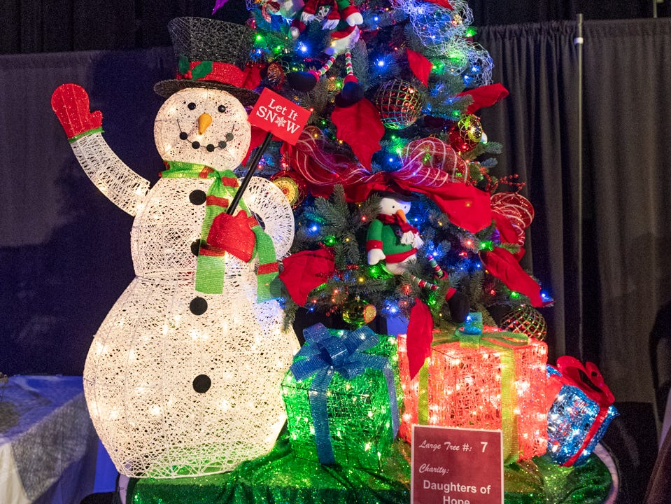 "Tree #7- Daughters of Hope. Visalia's 38th Annual Christmas Tree Auction on Friday, December 7, 2018. This year's theme was ""A Holiday Affair."" The live auctions alone generated nearly $60,000 in bids."