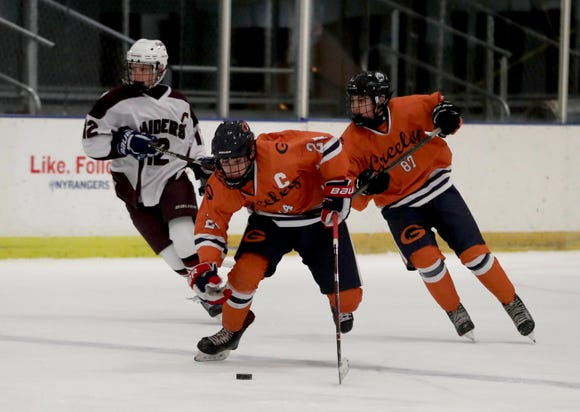 Horace Greeley defeated Scarsdale 2-1 in a varsity hockey game at the EJ Murray Skating Center in Yonkers Dec. 7, 2018.