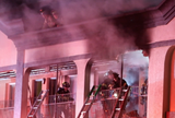 A two-alarm blaze was handled by firefighters as several rooms in the Newark Super 8 hotel were damaged Friday evening.