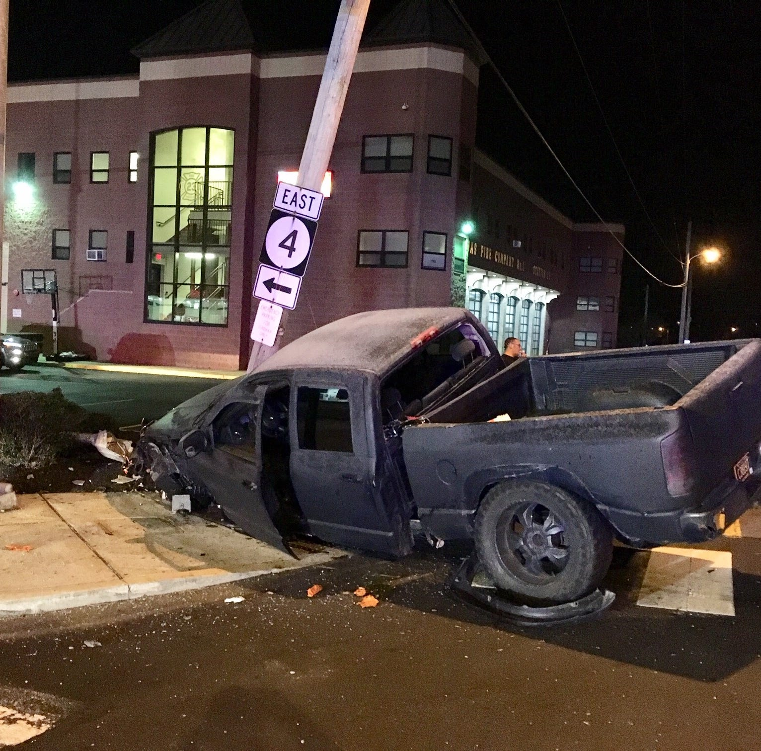 Pickup crashes in Newport, closes roads Friday night