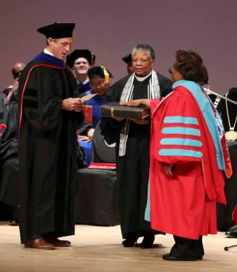 Wilma Mishoe has been on the job for a year but Saturday's investiture makes it formally official for Delaware State University's 11th president.