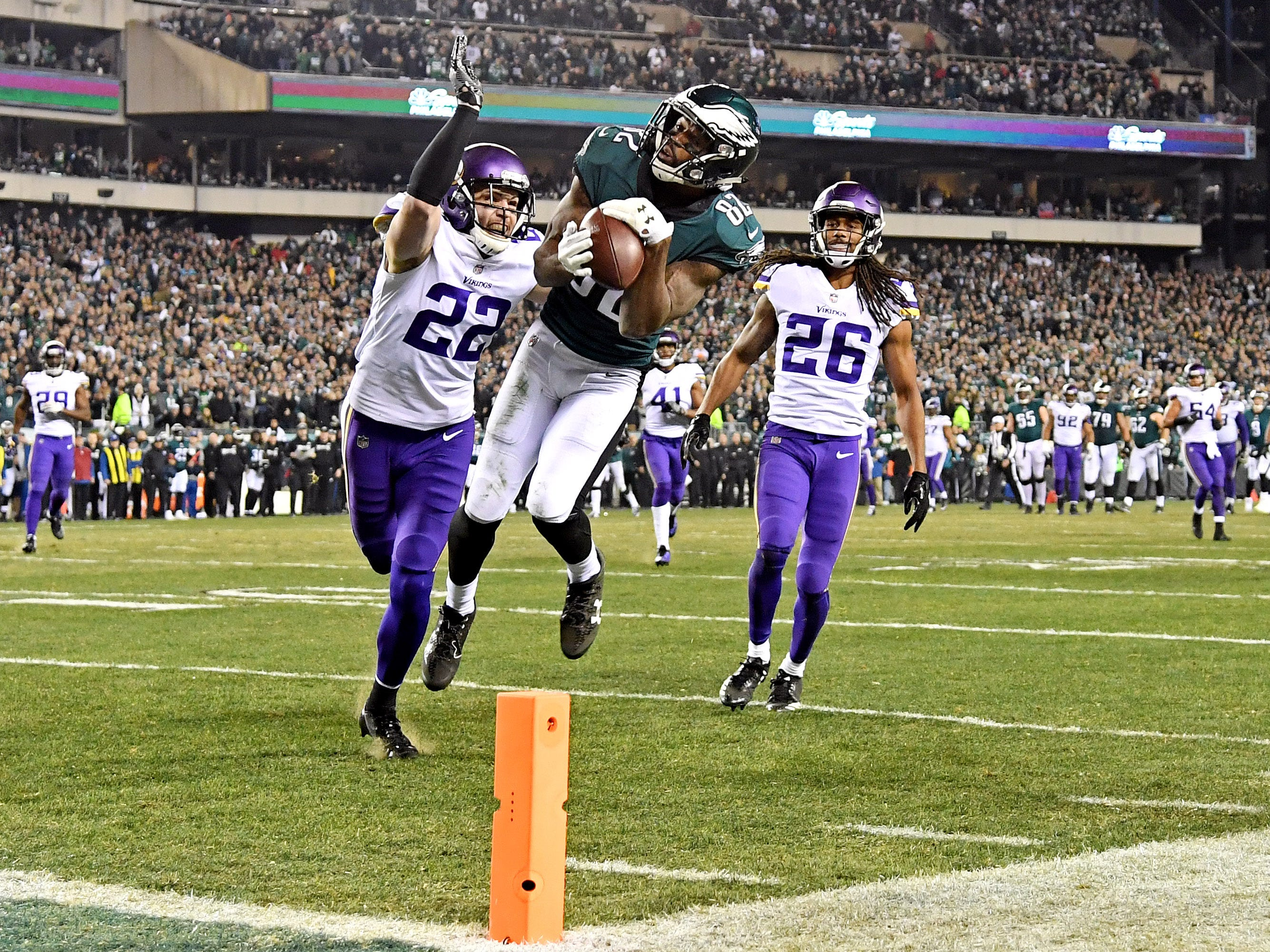Jan. 21: Philadelphia Eagles wide receiver Torrey Smith (82) catches a touchdown pass against Minnesota Vikings free safety Harrison Smith (22) during the third quarter in the NFC Championship game at Lincoln Financial Field.