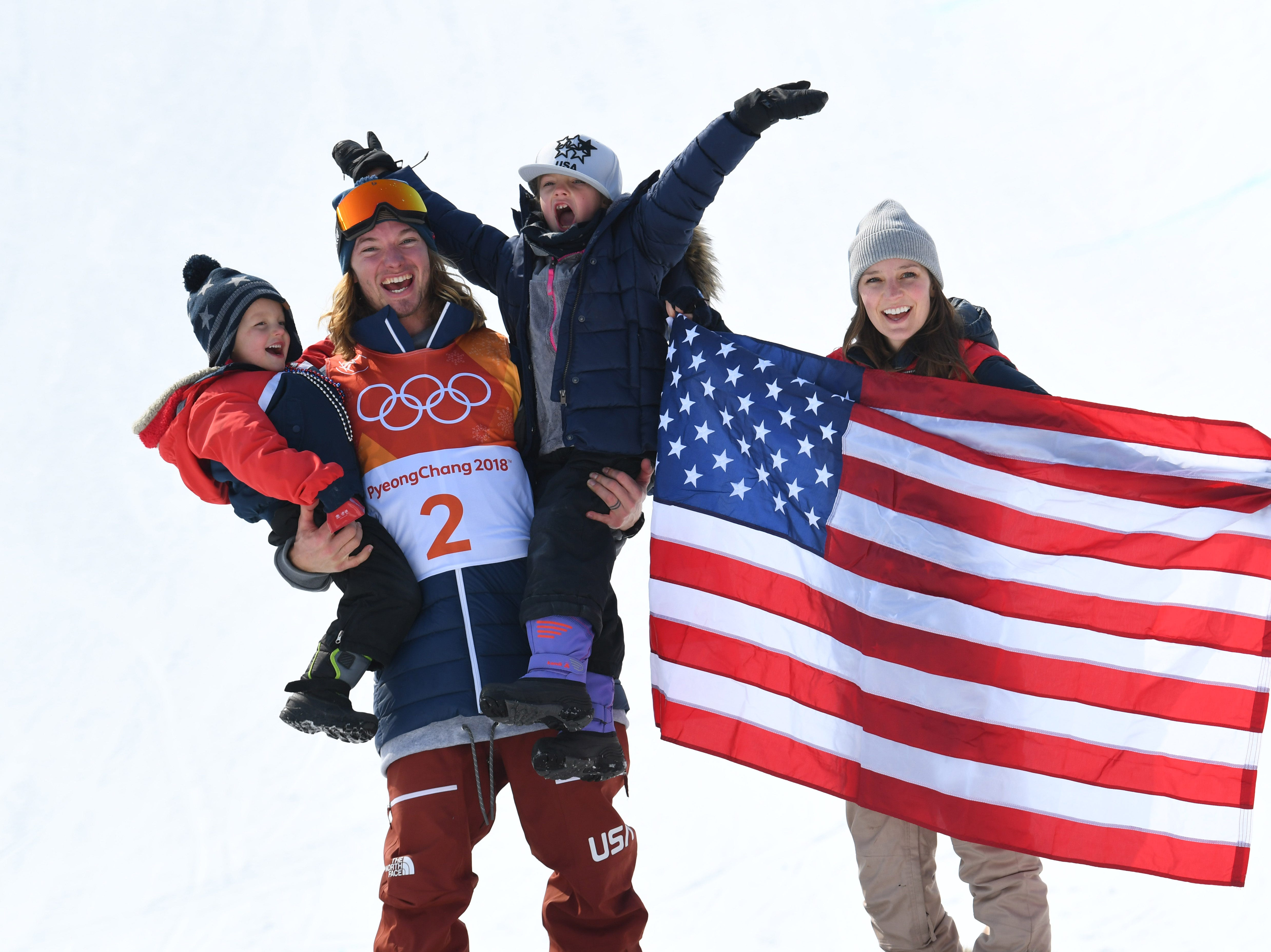 Feb. 22: David Wise (USA) celebrates with his family after winning gold in the men'ss halfpipe final during the Pyeongchang Winter Games.