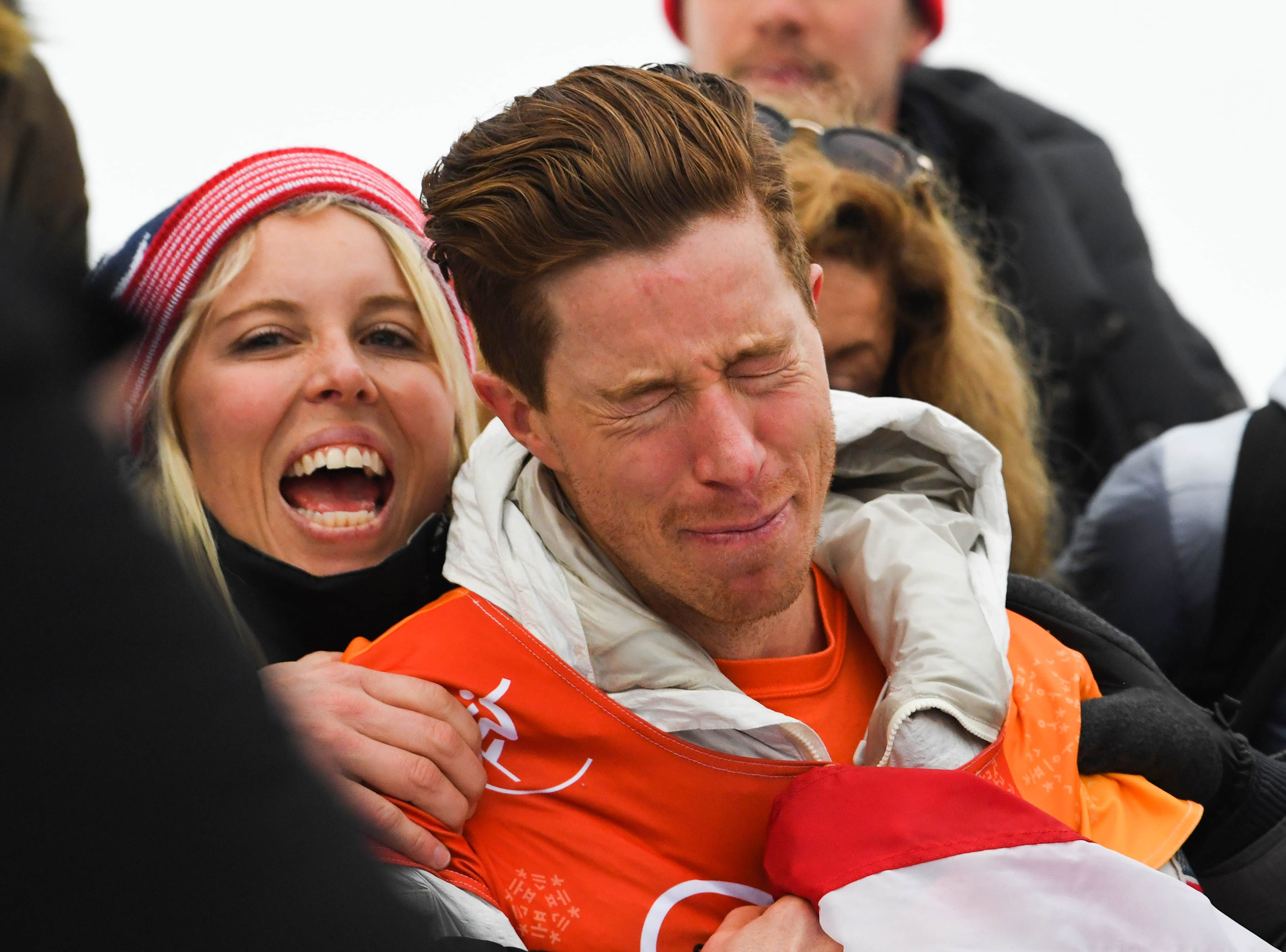 Feb. 14: Shaun White (USA) reacts after winning gold in men's snowboarding halfpipe during the Pyeongchang Winter Games.