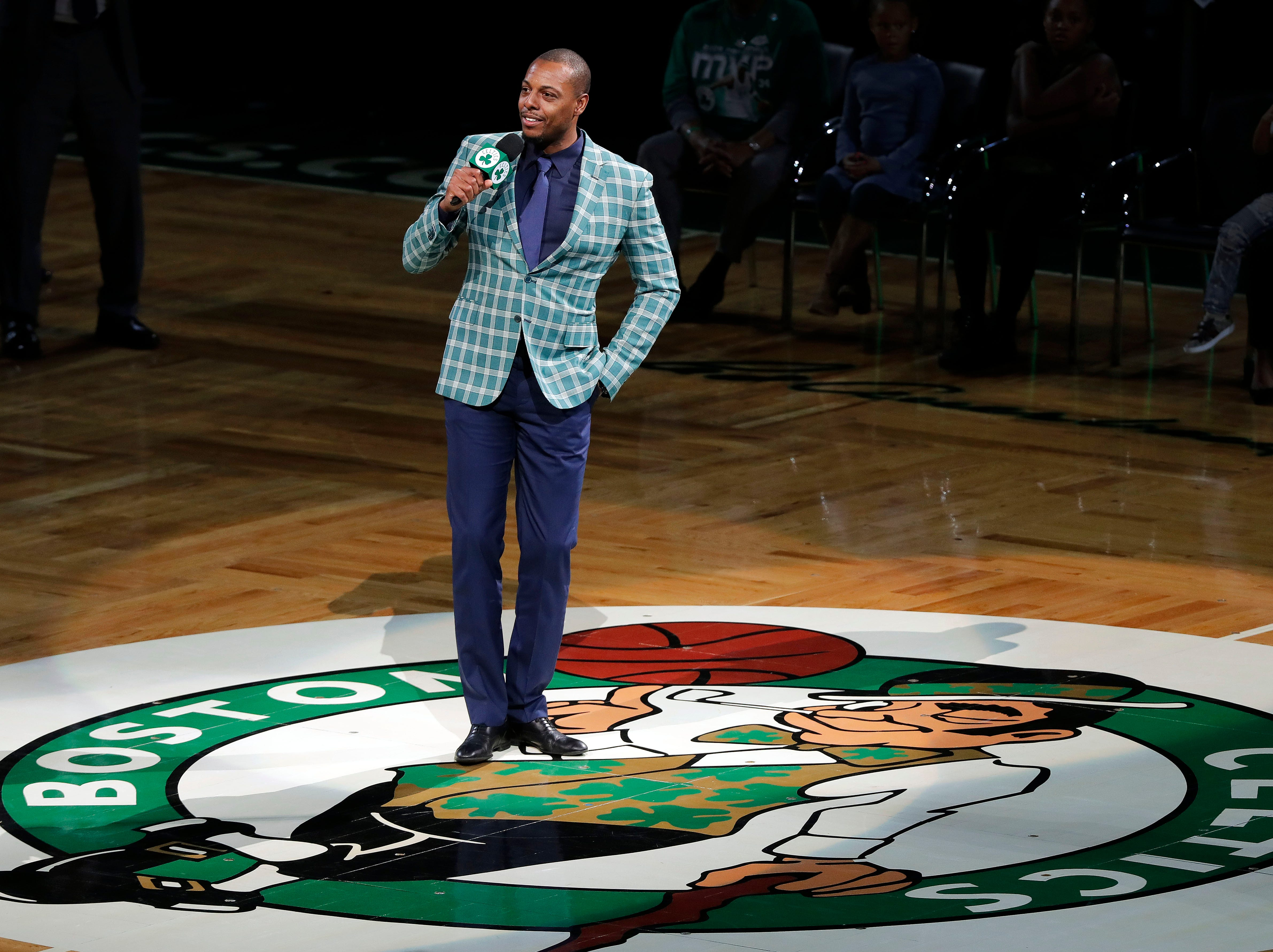 """Feb. 11: Former Boston Celtics star Paul Pierce speaks to the crowd during the ceremony to retire his number at TD Garden. Pierce is featured in a new documentary called """"Inglewood Morning Sessions"""" about an Inglewood police lieutenant who mentored youth through his early-morning basketball camps. Pierce was a beneficiary of the camps."""