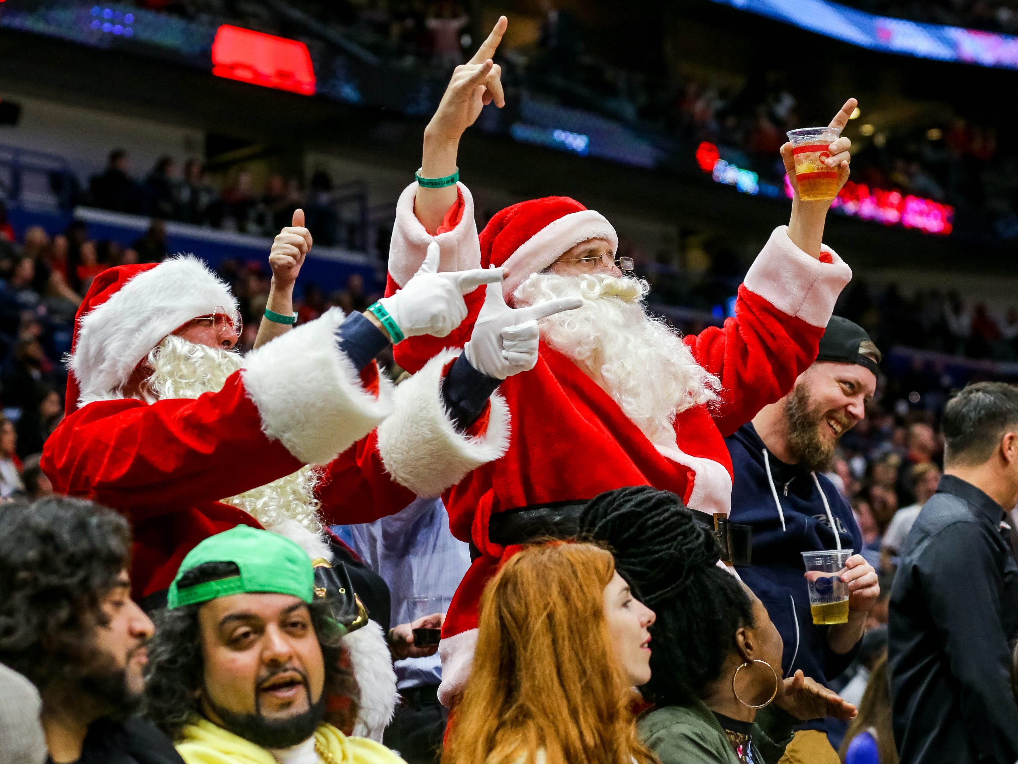 Dec. 7: Some festive Pelican fans take in a game against the Grizzlies at the Smoothie King Center.