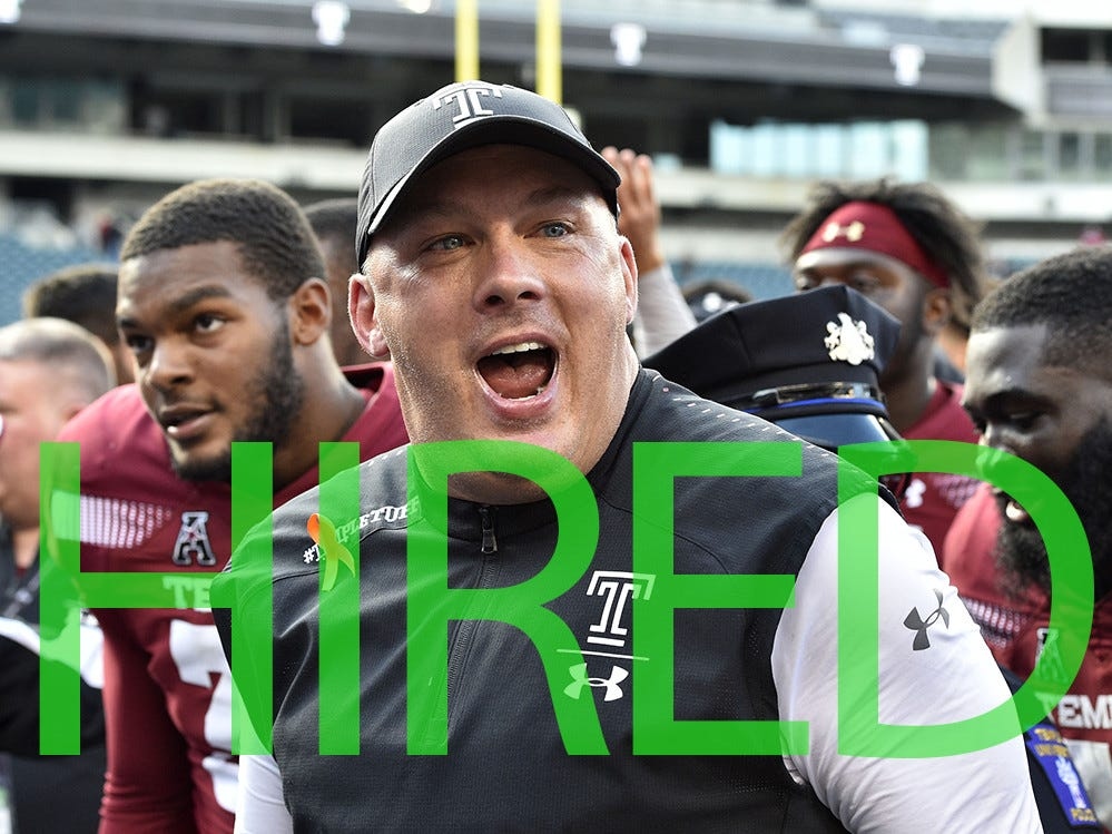 Geoff Collins was hired by Georgia Tech to replace the retiring Paul Johnson. Collins went 15-10 the past two seasons as the head coach of Temple.