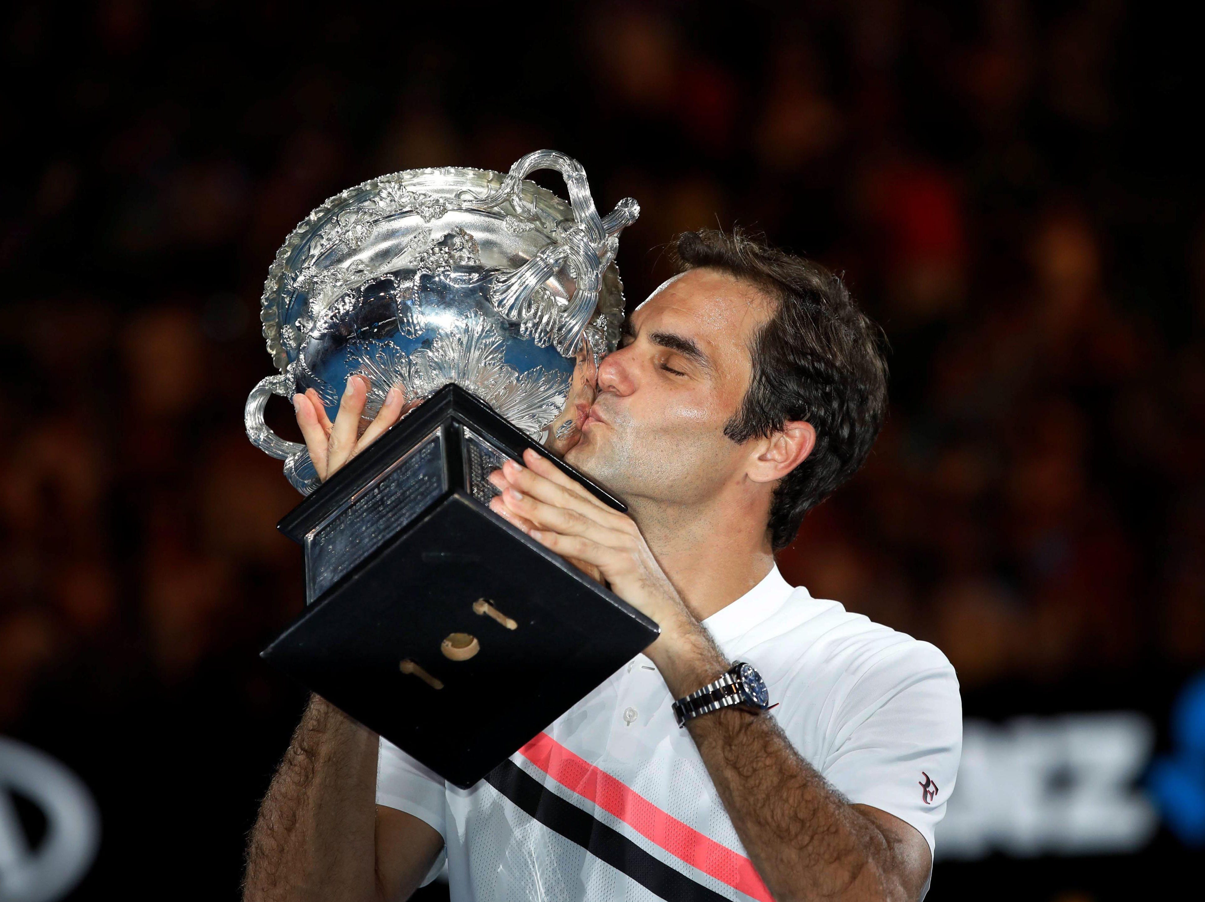 Jan. 28: Roger Federer celebrates after defeating Marin Cilic in the Australian Open final.