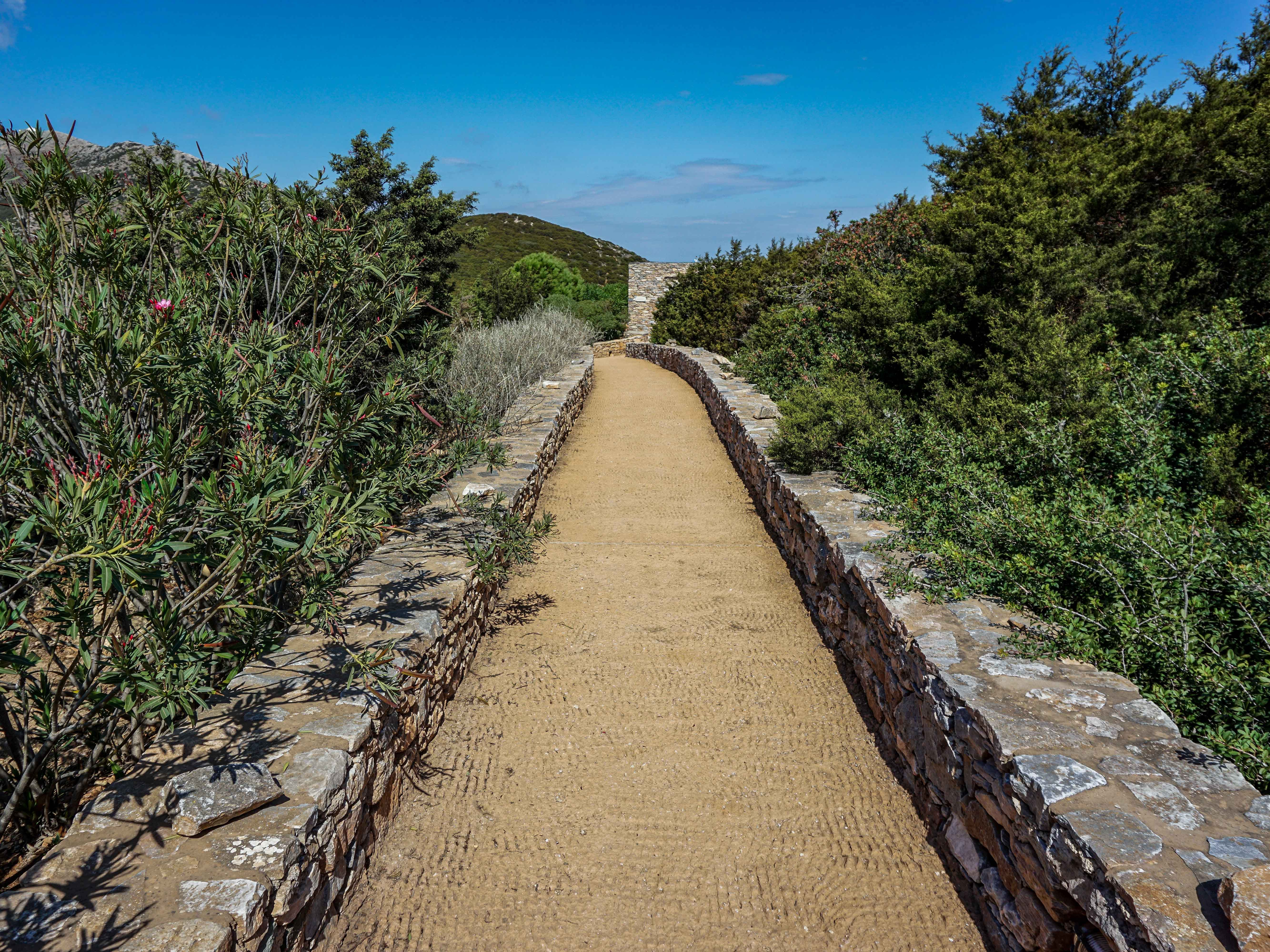The well-designed trail leading to the church of Agios Andreas is part of the Sifnos Acropolis. It's perched high on a hill and was a hideaway from pirates who patrolled the Aegean Sea.