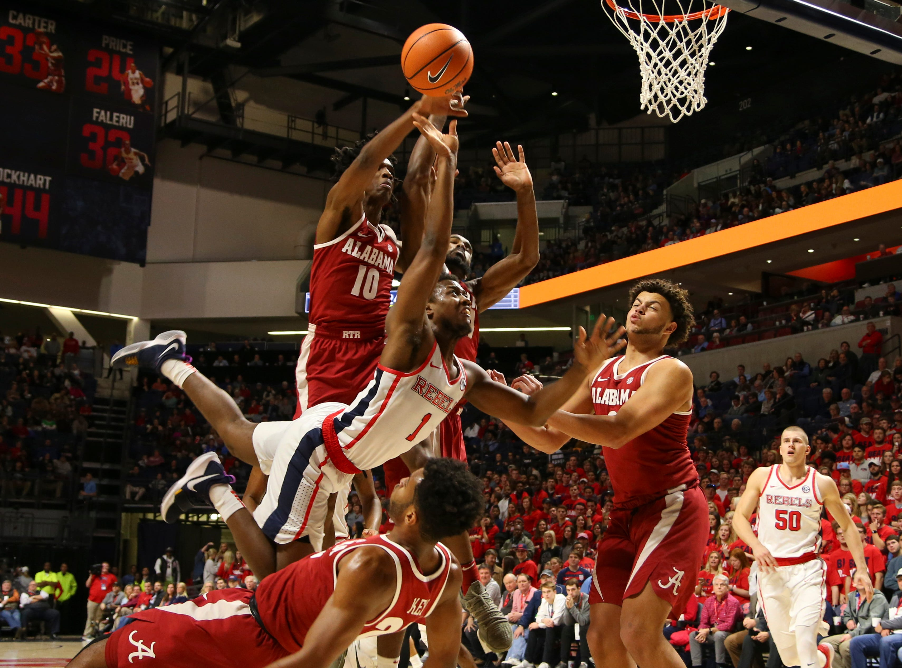 Jan. 23: Mississippi Rebels guard Deandre Burnett (1) shoots the ball against the Alabama Crimson Tide during the first half at The Pavilion at Ole Miss.