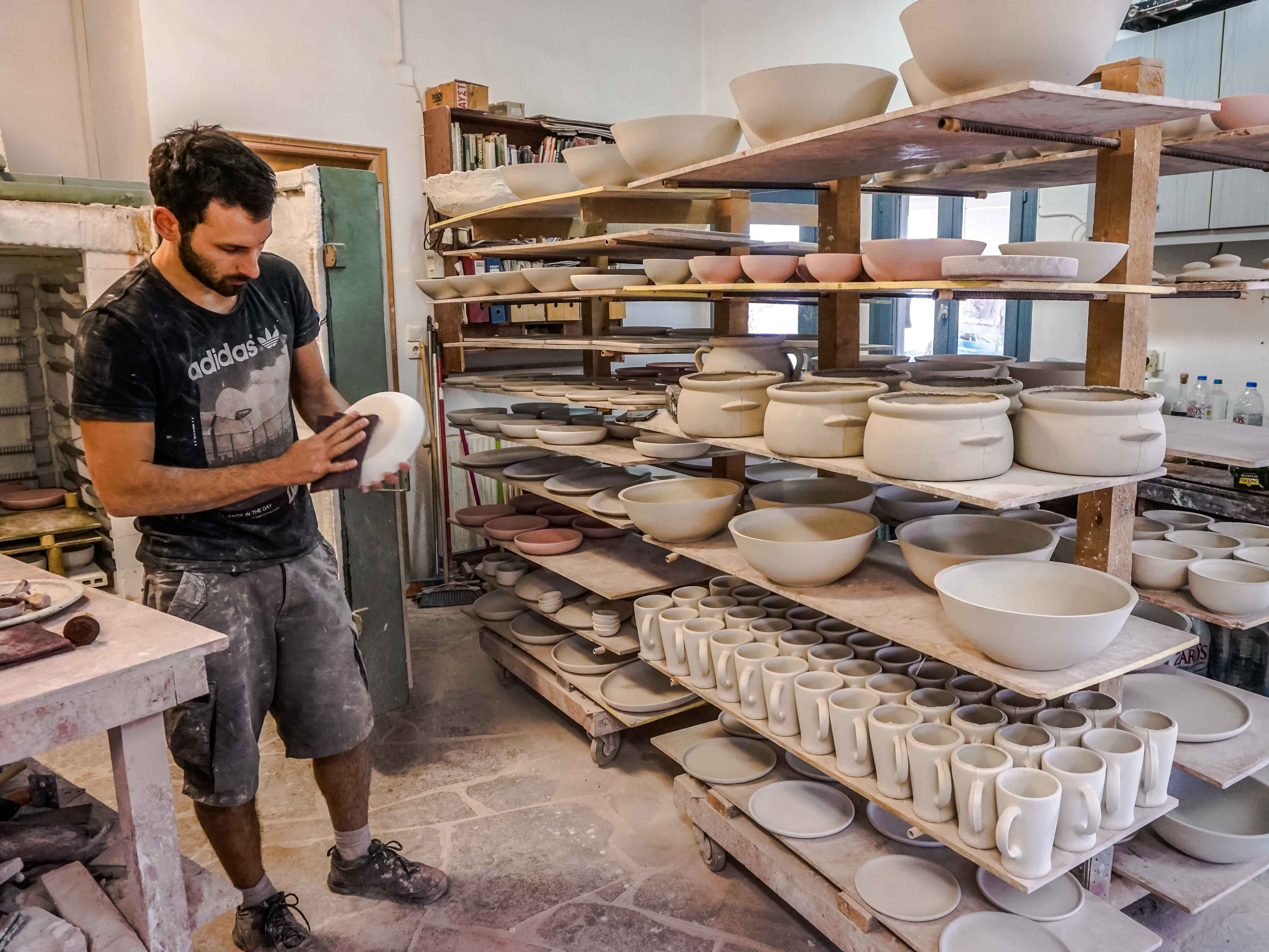 Sifnos stoneware is famous throughout Greece. Its handmade ceramics are created on a pottery wheel with techniques handed down from generations past. All restaurants on Sifnos prepare meals in the classic clay pots.