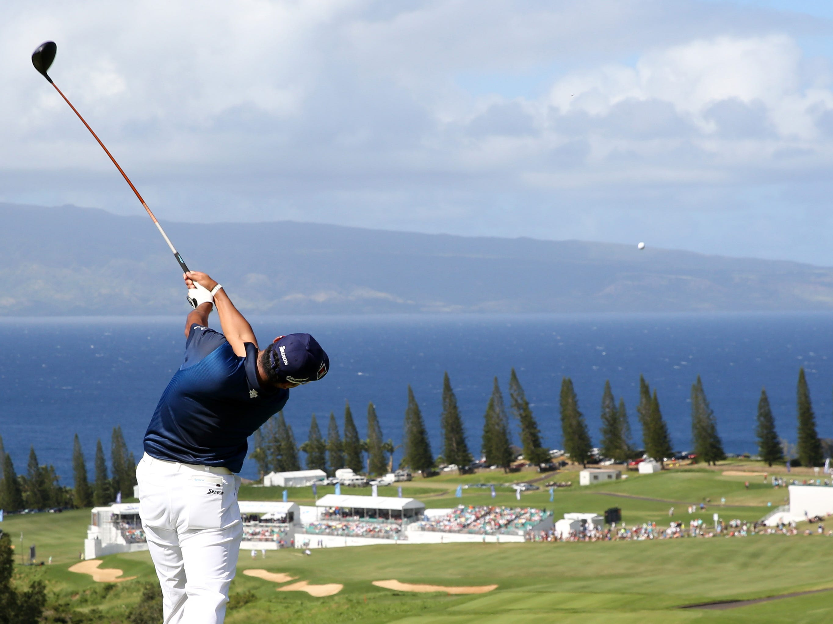 Jan. 6: Hideki Matsuyama tees off on the 18th hole during the third round of the Sentry Tournament of Champions golf tournament at Kapalua Resort - The Plantation Course.